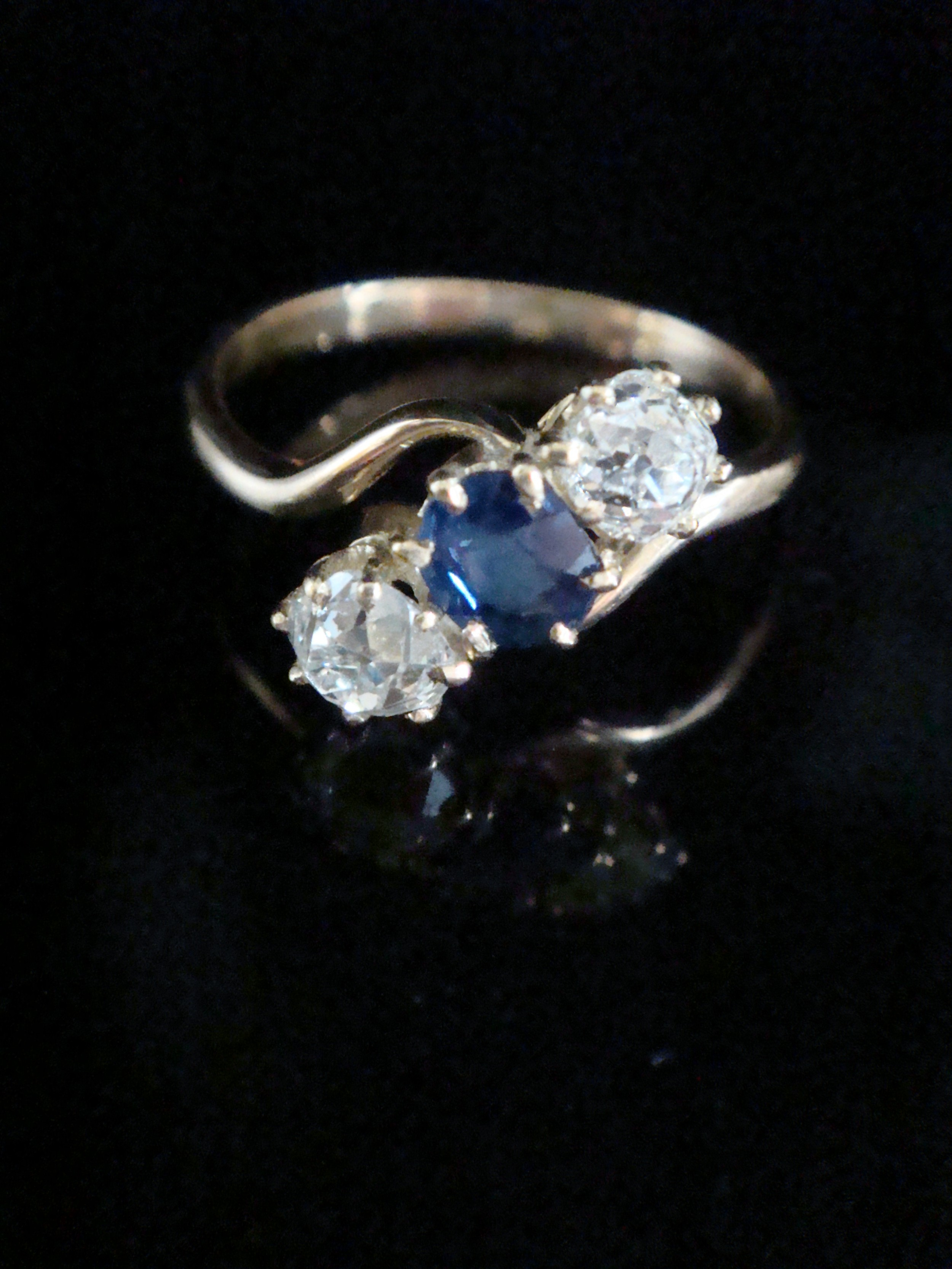 edwardian 18ct natural cushion cut sapphire and old cut diamond 050ct 3 stone ring