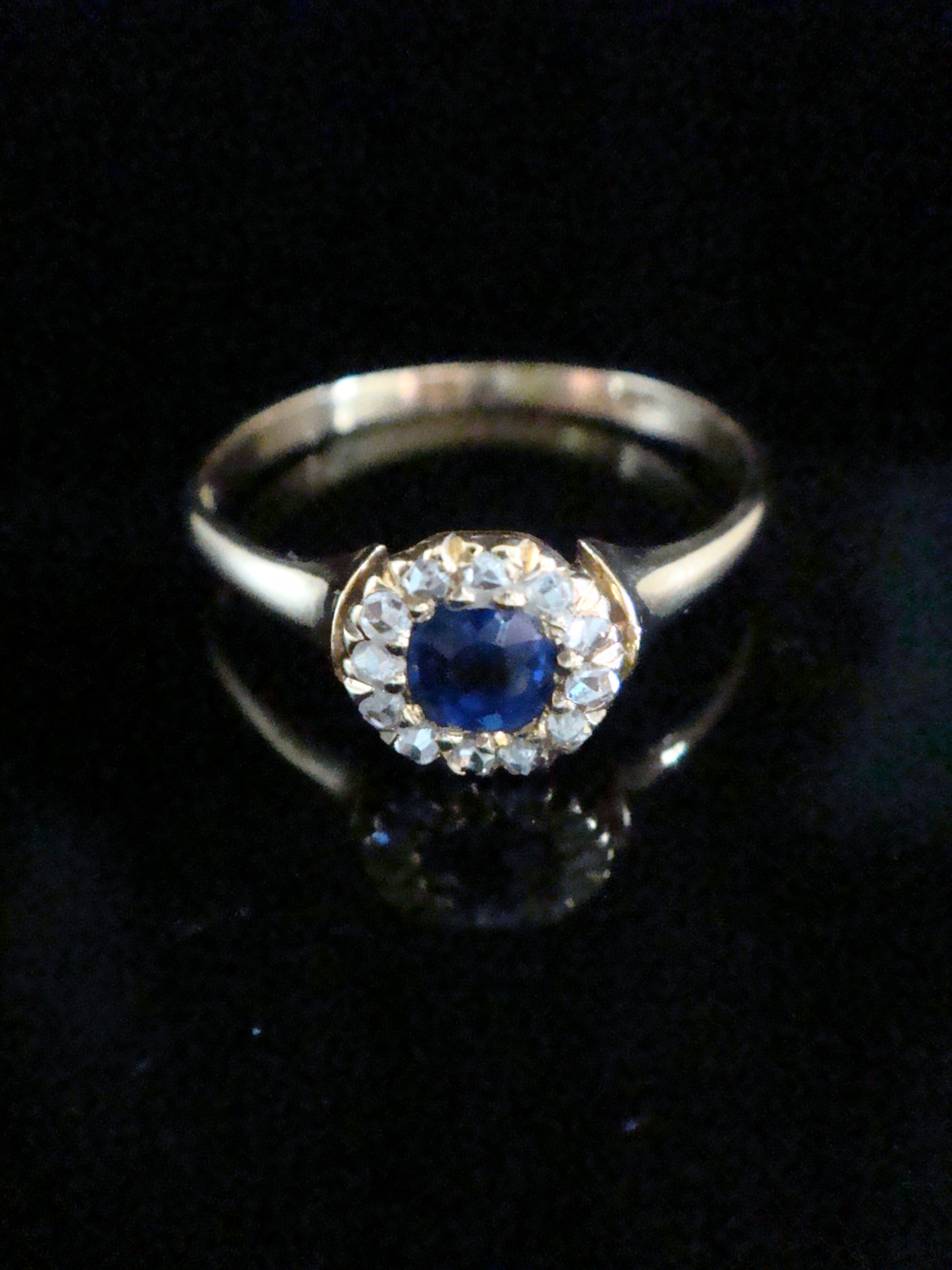 edwardian 18ct yellow gold natural cushion cut sapphire and old cut diamond halo cluster ring
