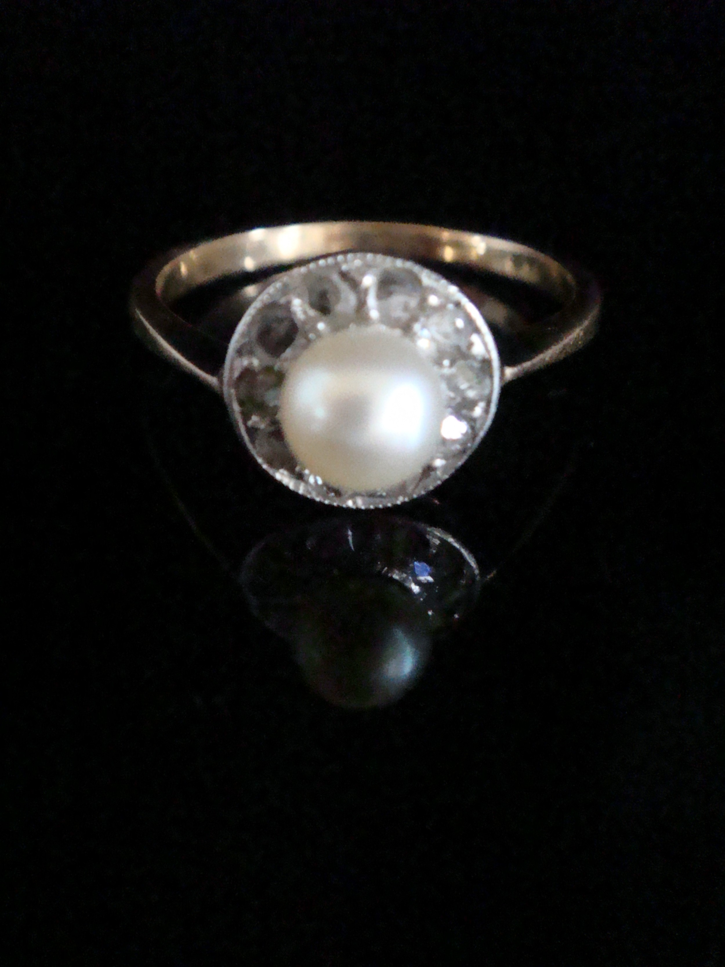 edwardian 18ct yellow gold platinum rose cut diamond and cultured pearl halo cluster ring