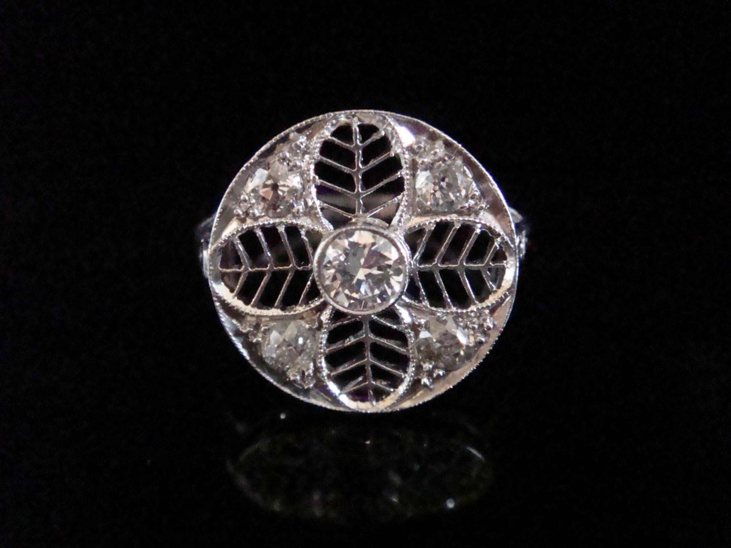 art deco edwardian 18ct white gold diamond target cluster ring 072ct