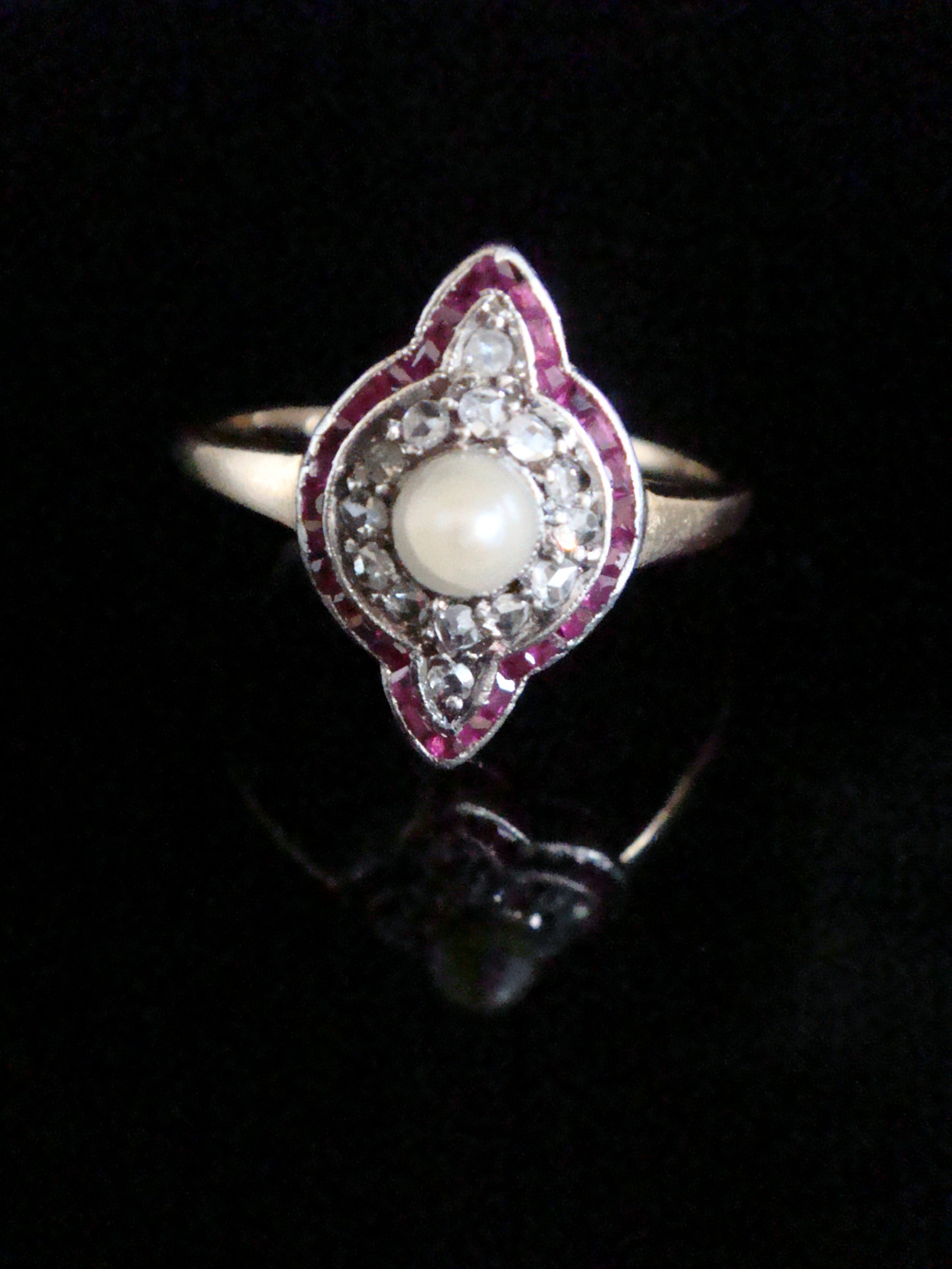 french edwardian cultured pearl ruby rose cut diamond target ring