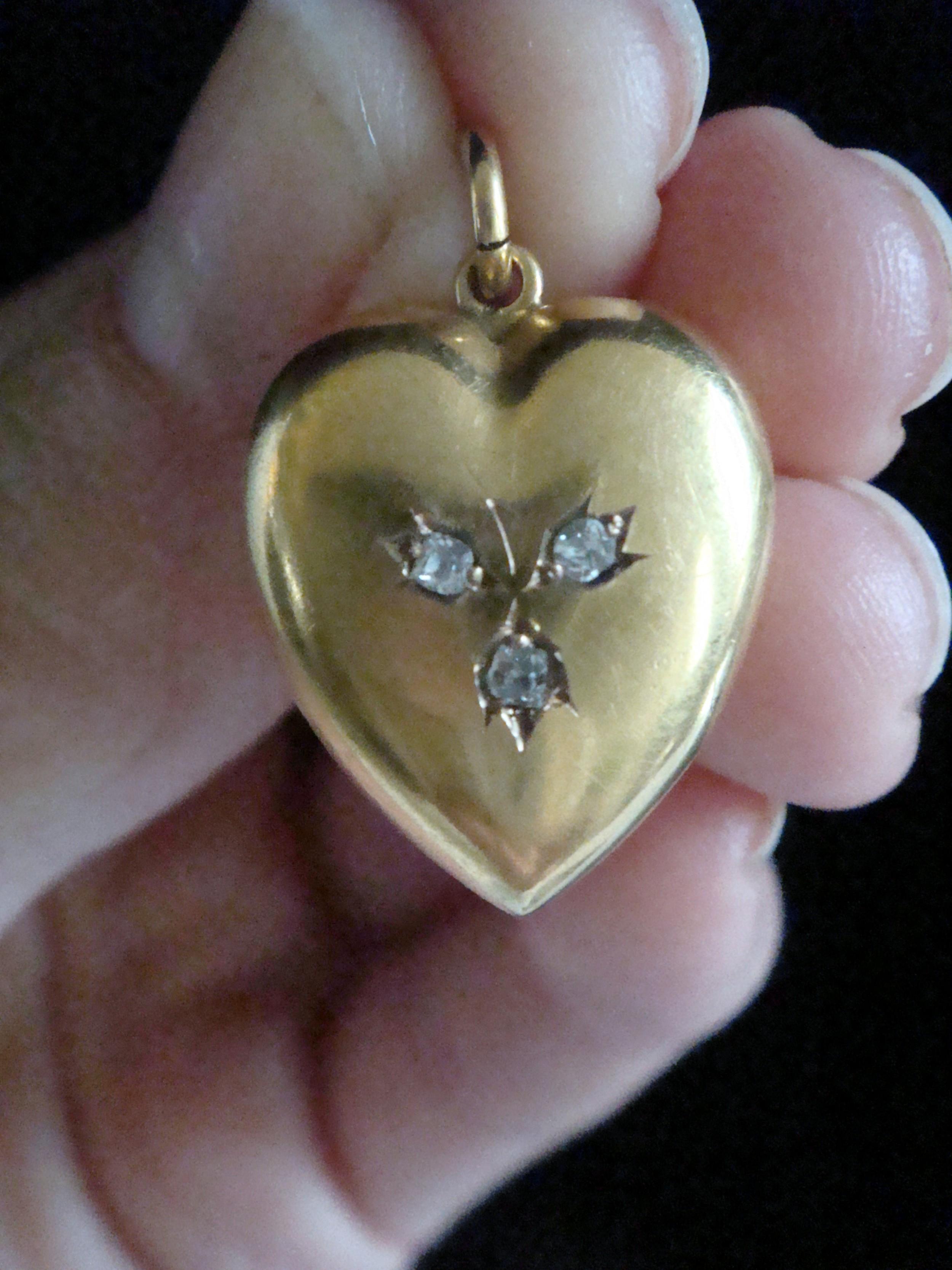 victorian 15ct old cut diamond puff heart pendant