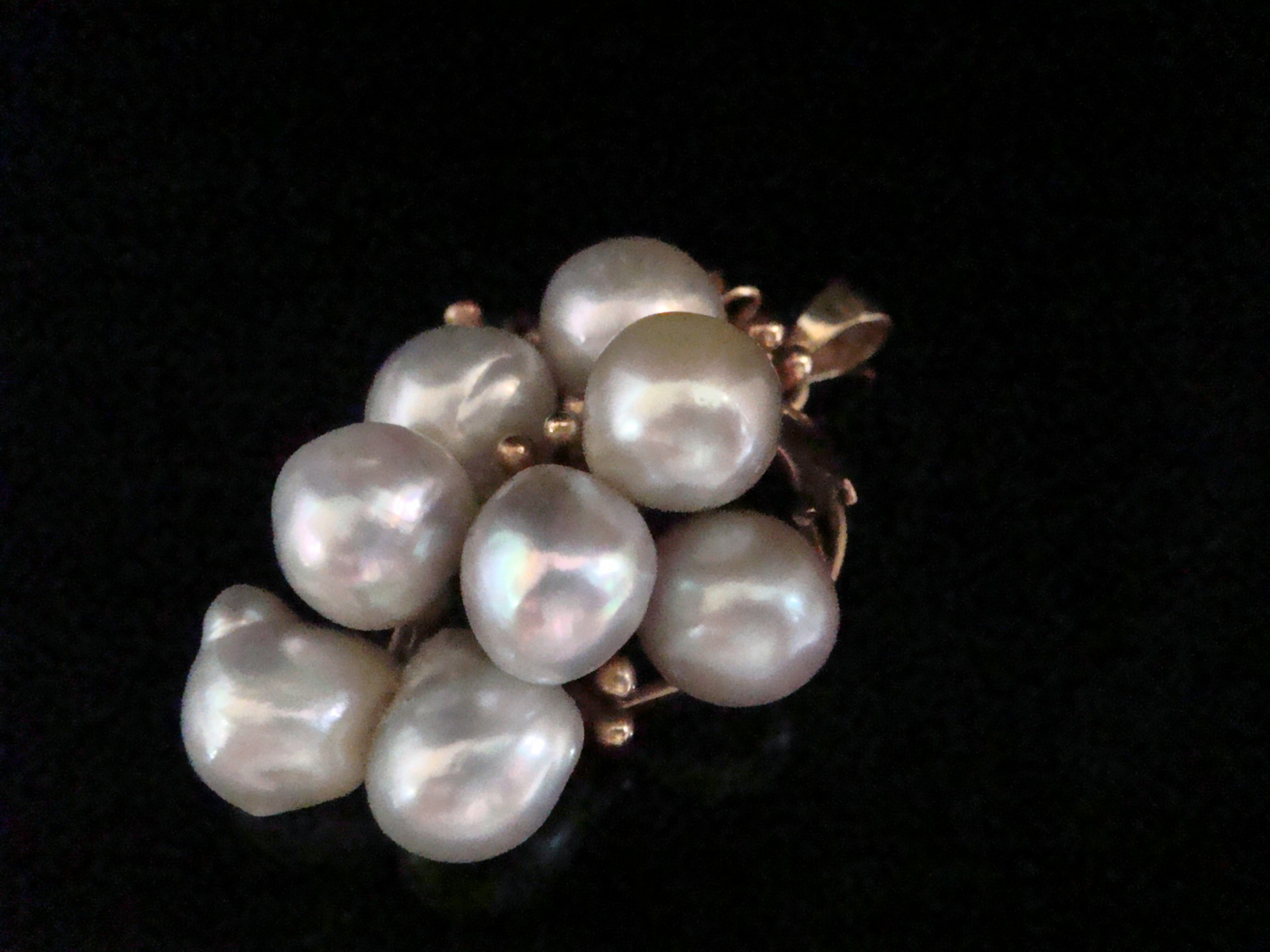 vintage retro 14ct yellow gold large cultured pearl pendant matching ring