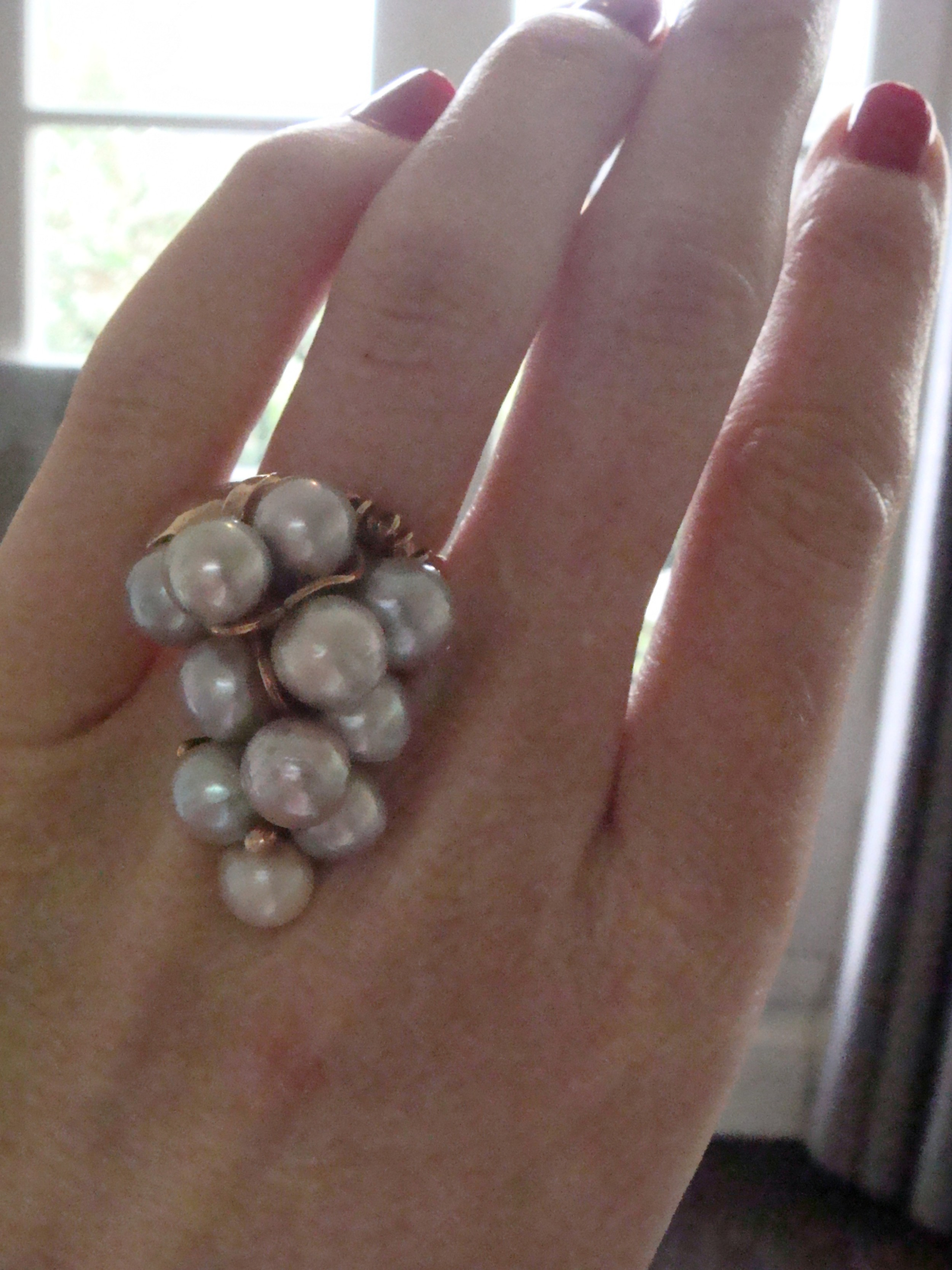 vintage retro 14ct yellow gold large cultured pearl ring matching pendant