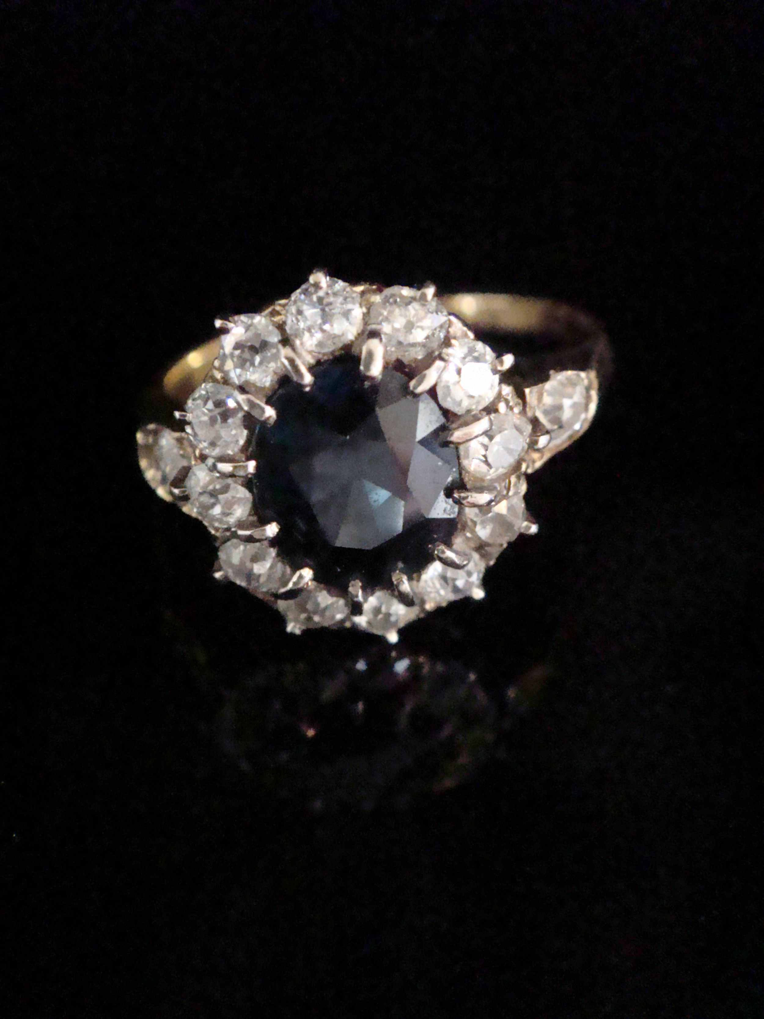edwardian 18ct yellow gold natural sapphire 200ct and diamond 090ct cluster