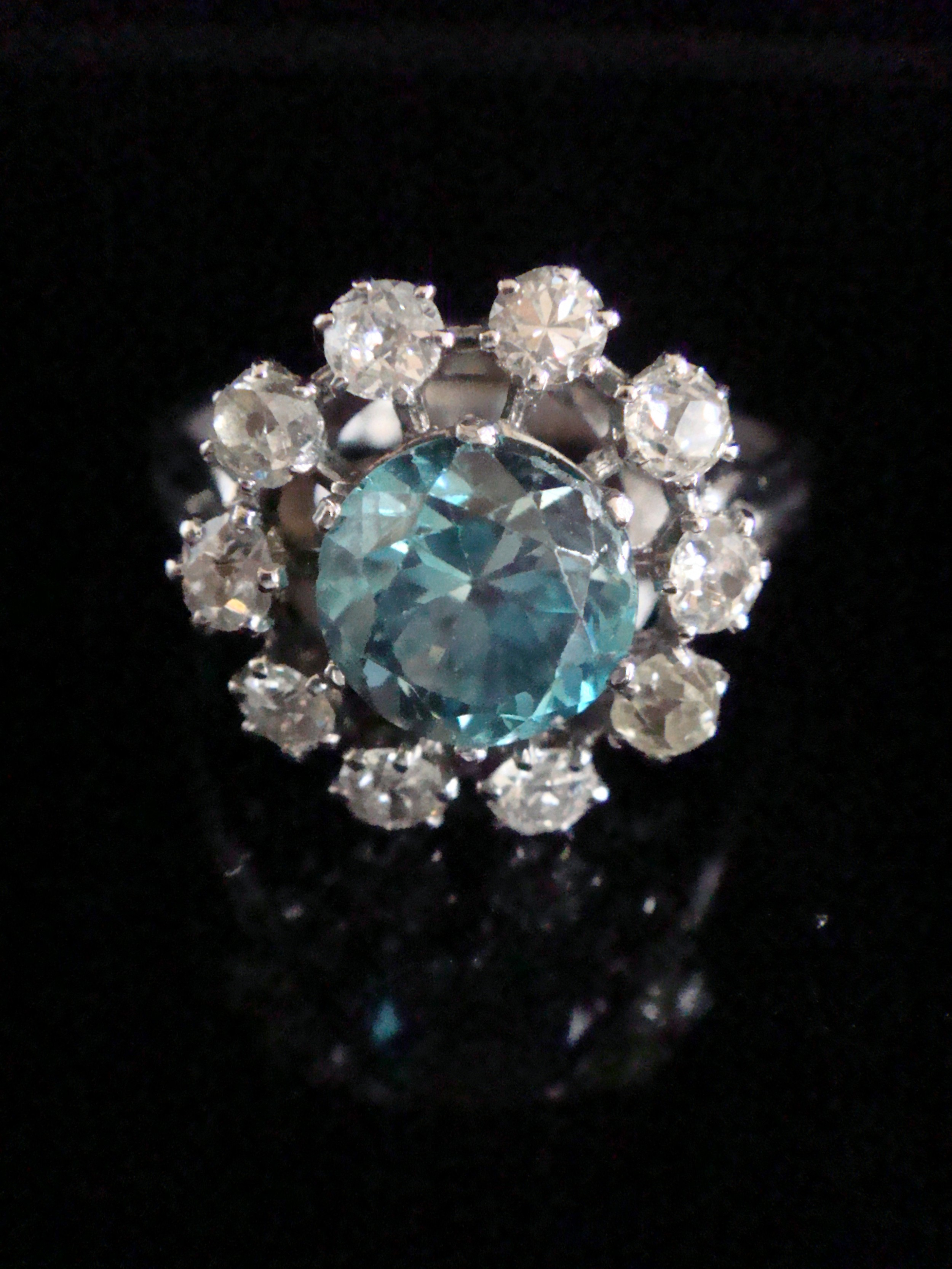 edwardian french platinum large natural blue zircon 2ct and diamond 120ct cluster ring