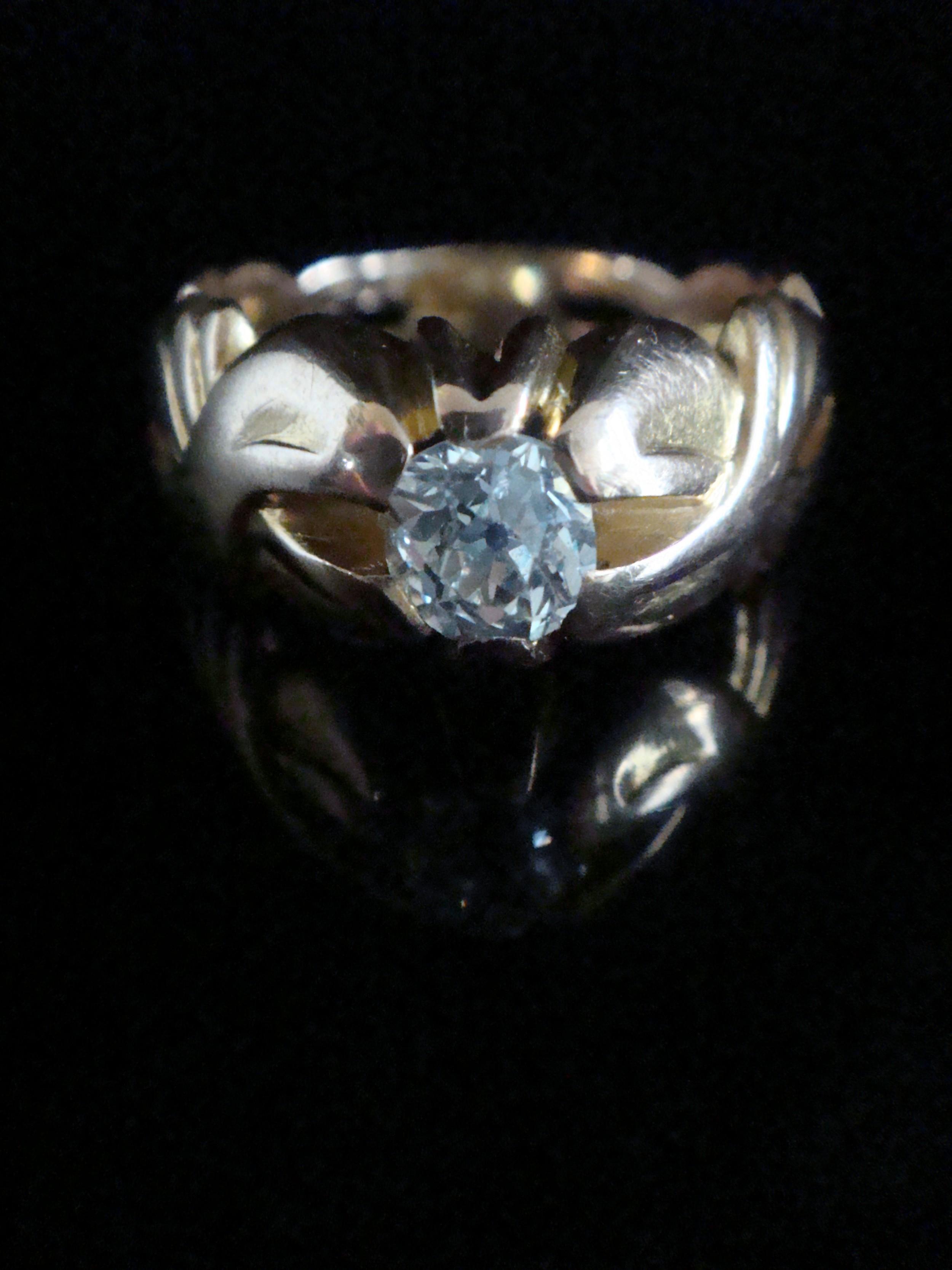 art nouveau 18ct high carat rose gold old cut diamond solitaire 065ct ring