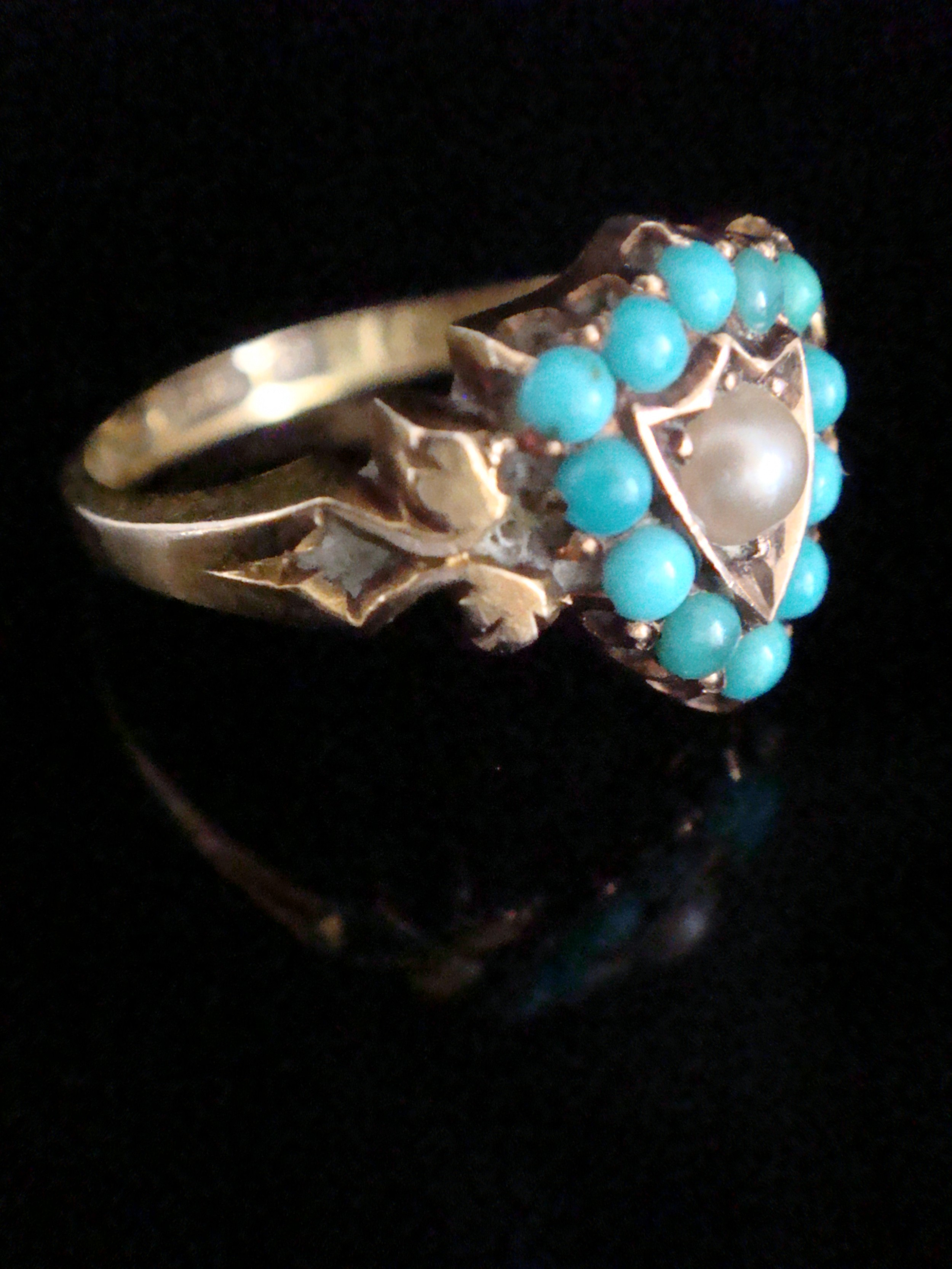 victorian 15ct yellow gold natural turquoise and pearl shield ring