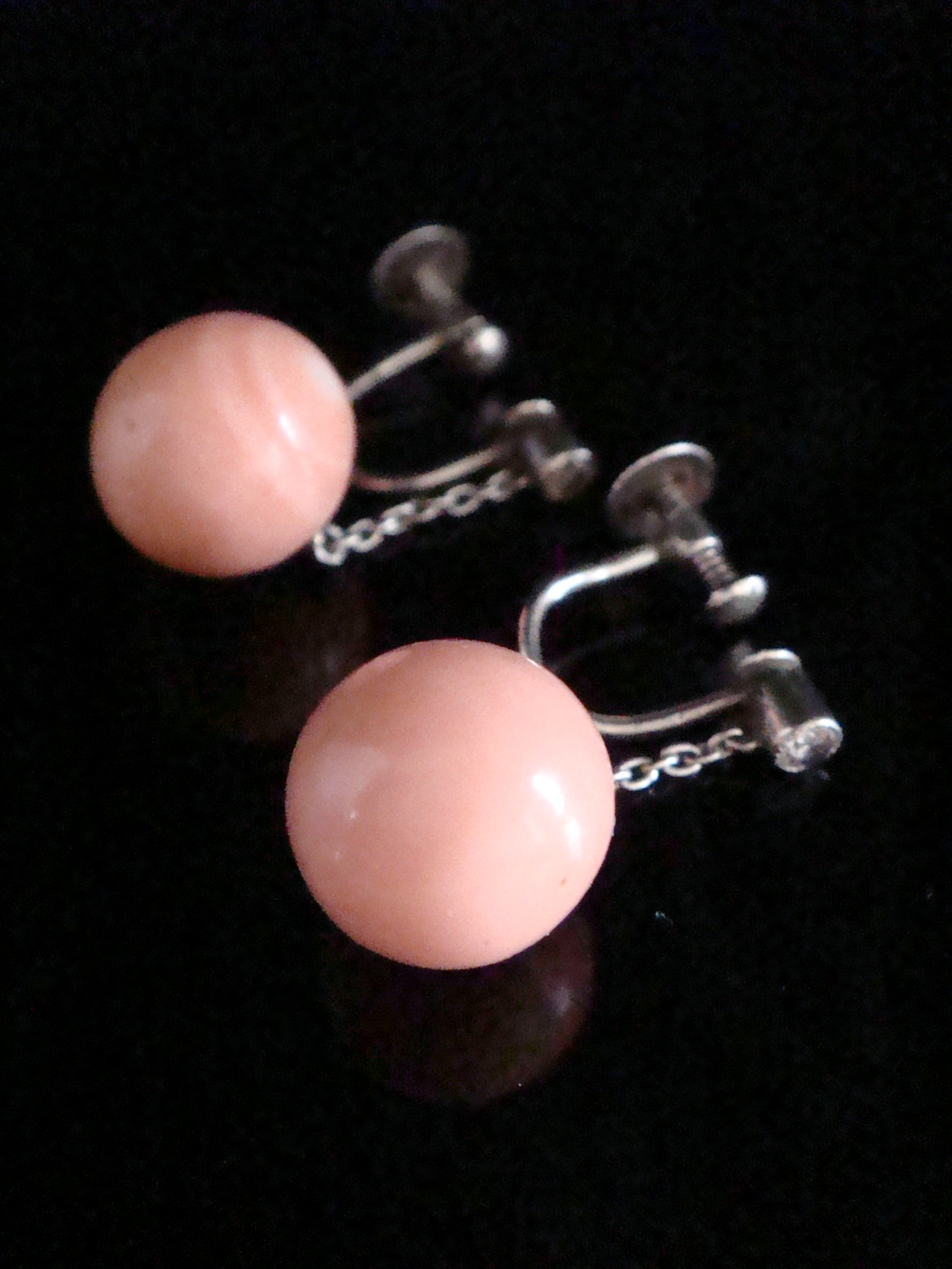 edwardian white gold natural coral and old cut diamond drop earrings