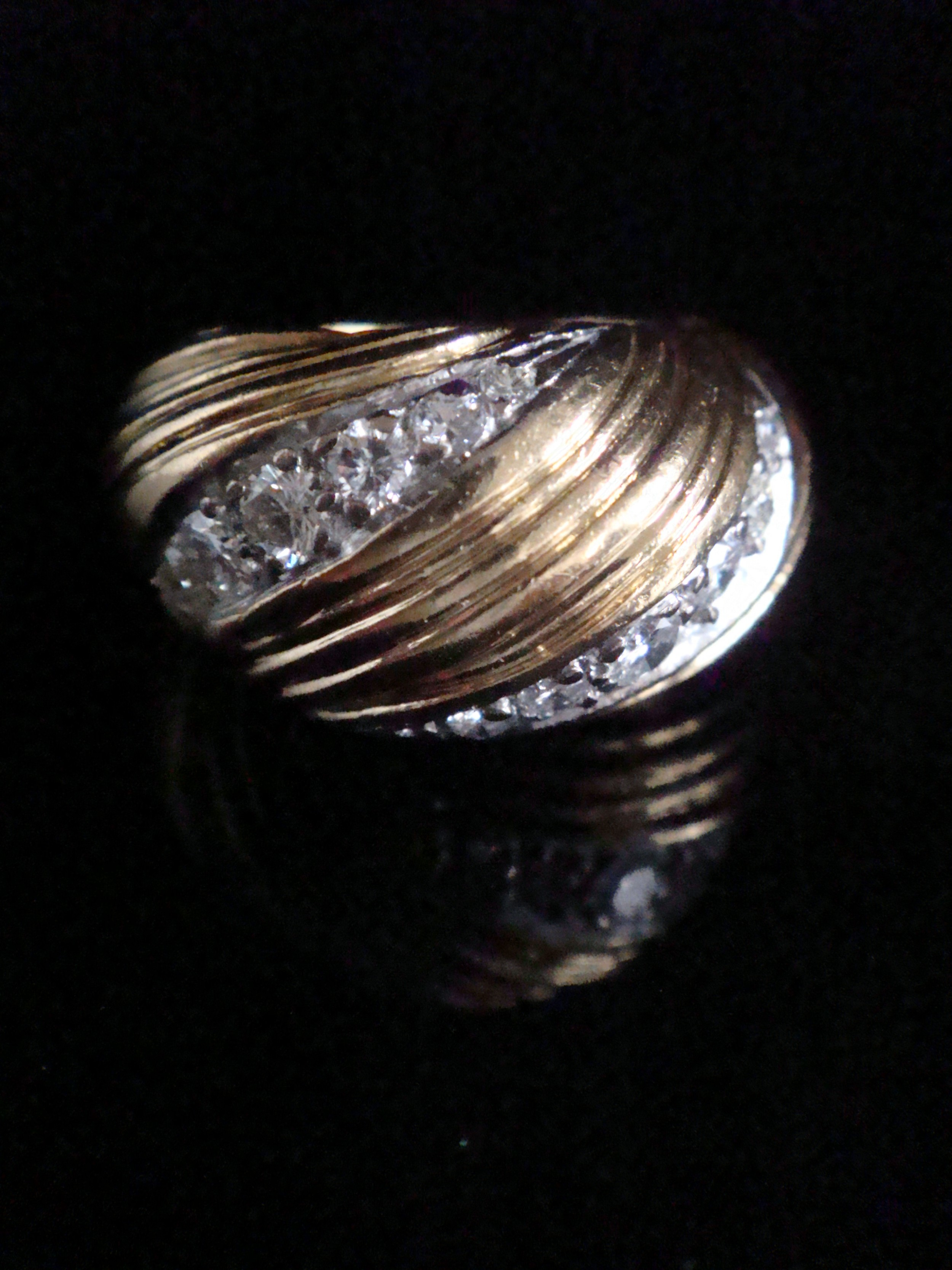 retro 1960s kutchinsky 18ct platinum diamond 055ct bombe set ring