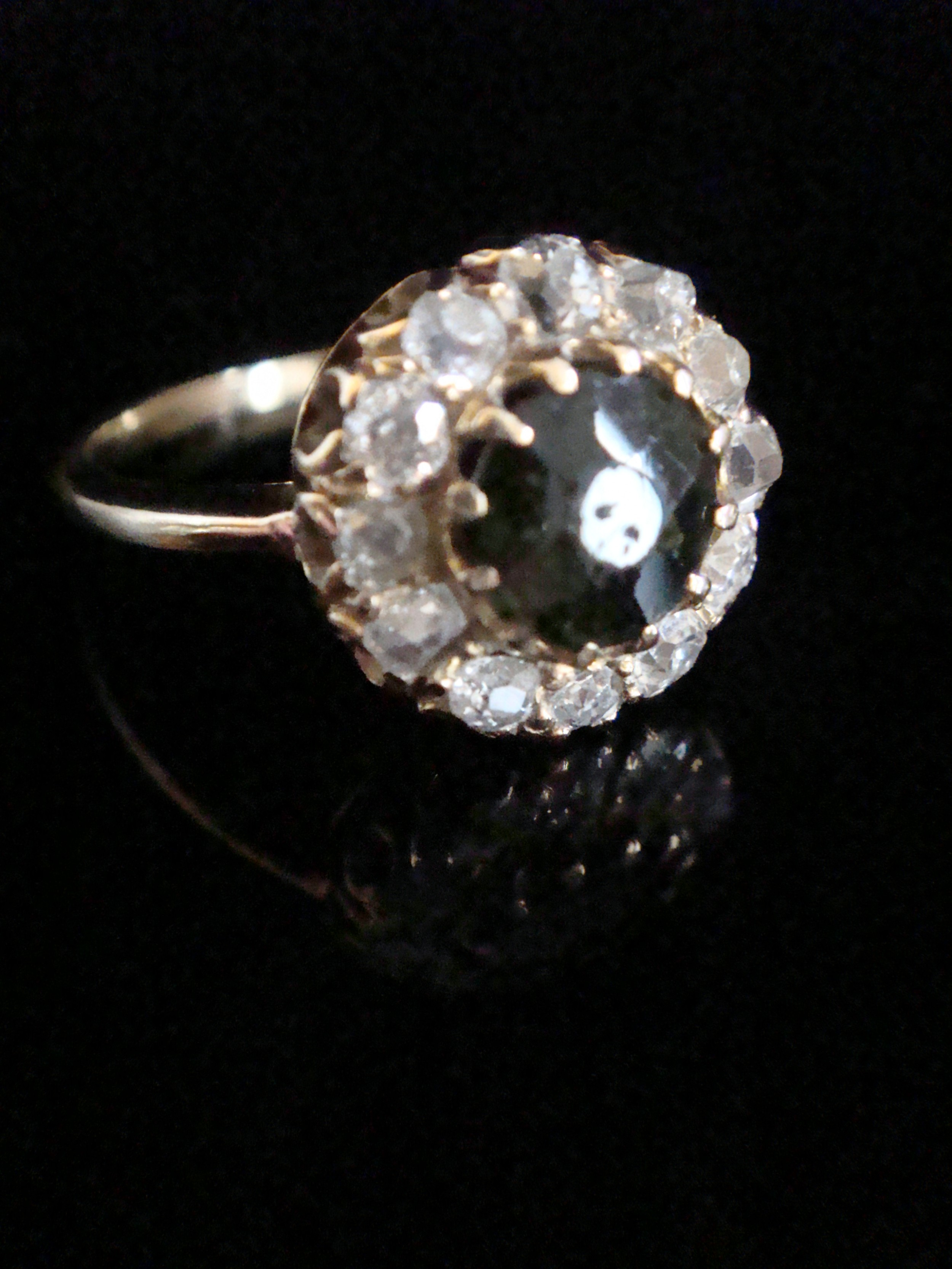 edwardian 18ct yellow gold natural tourmaline old cut diamond cluster halo ring