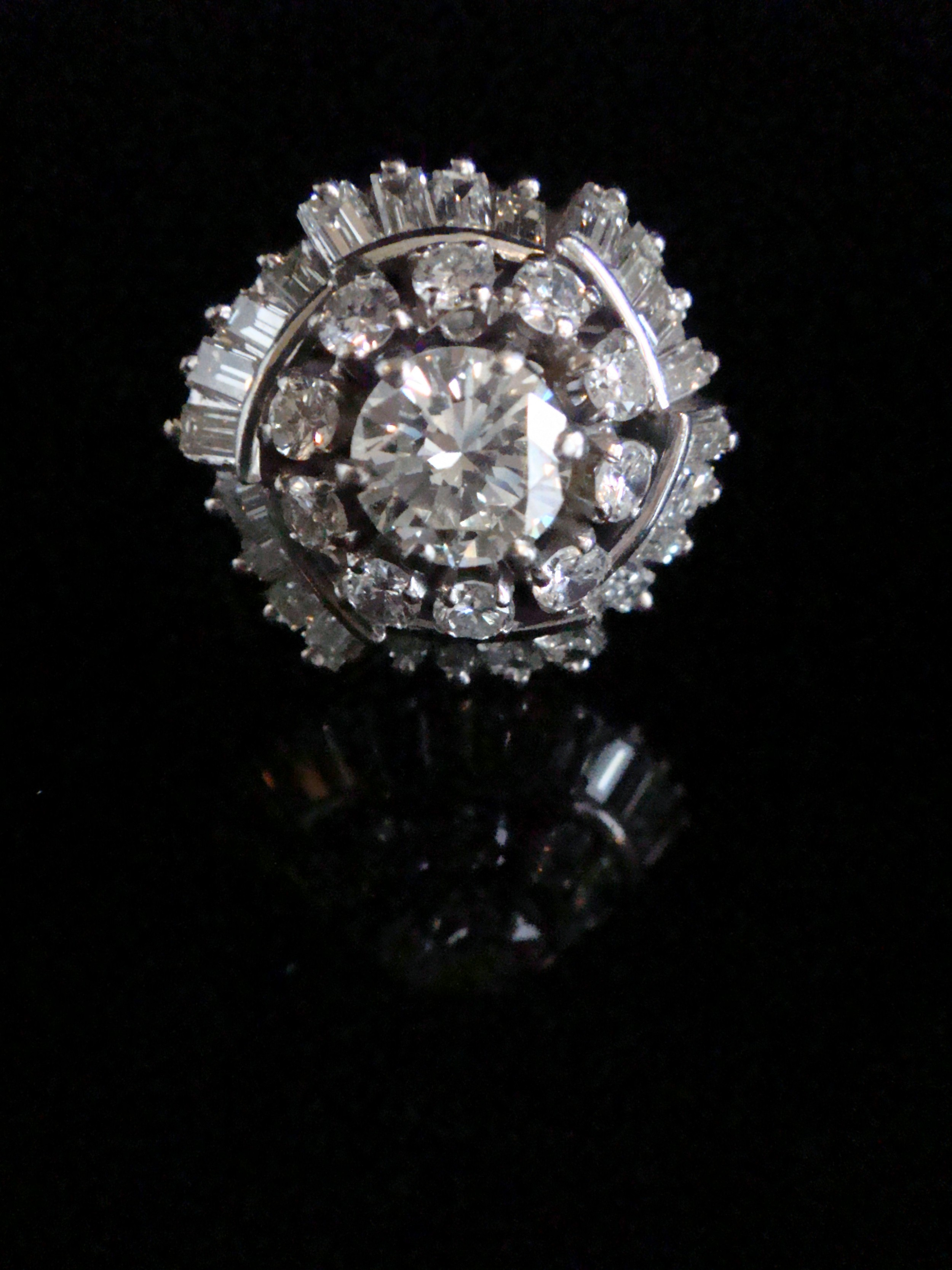 194050s 18ct 300ct diamond ballerina cluster cocktail ring with central 1ct diamond