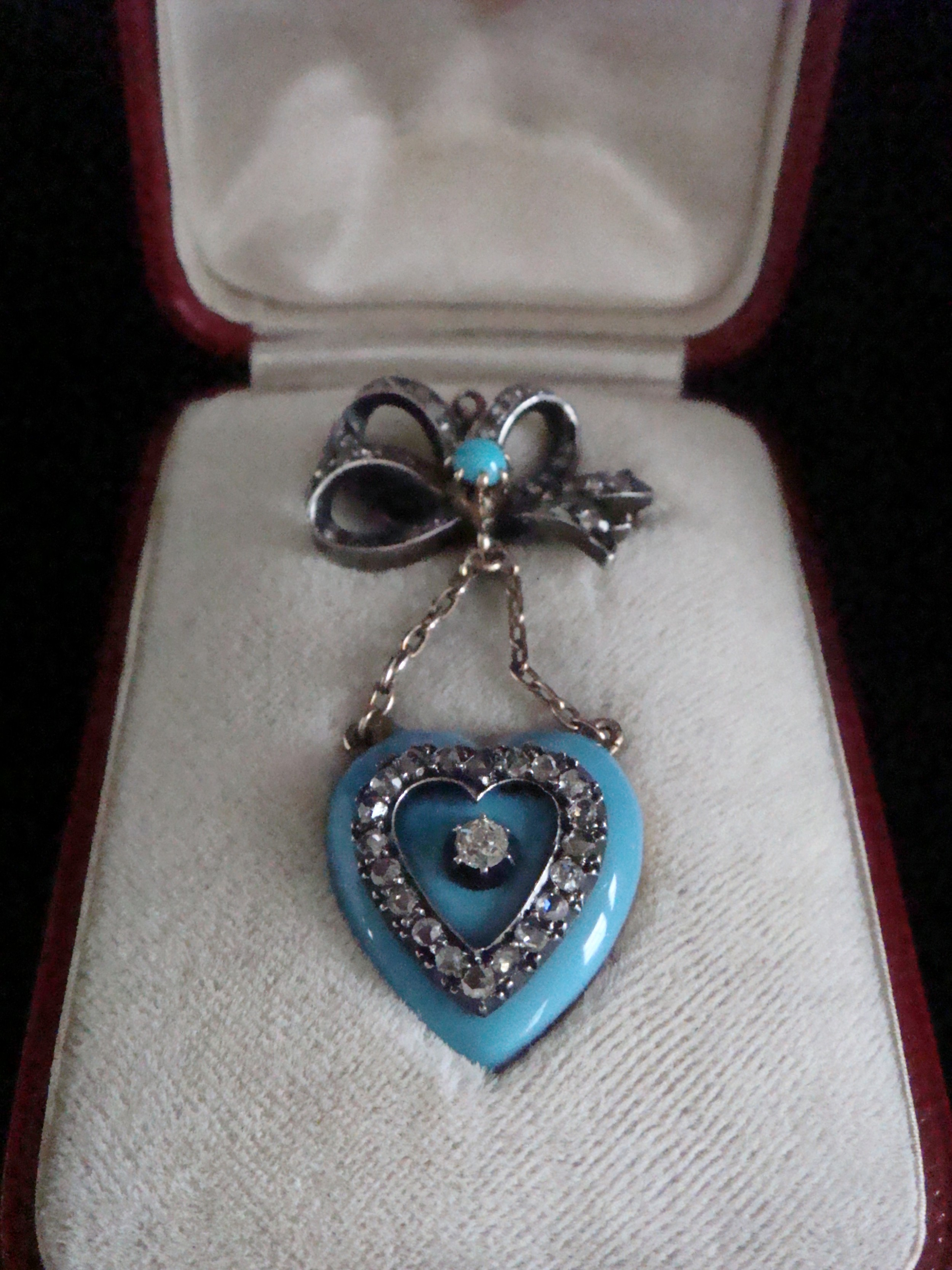 victorian 18ct original tessier brooch in the form of enamel heart locket and rose cut diamond bow