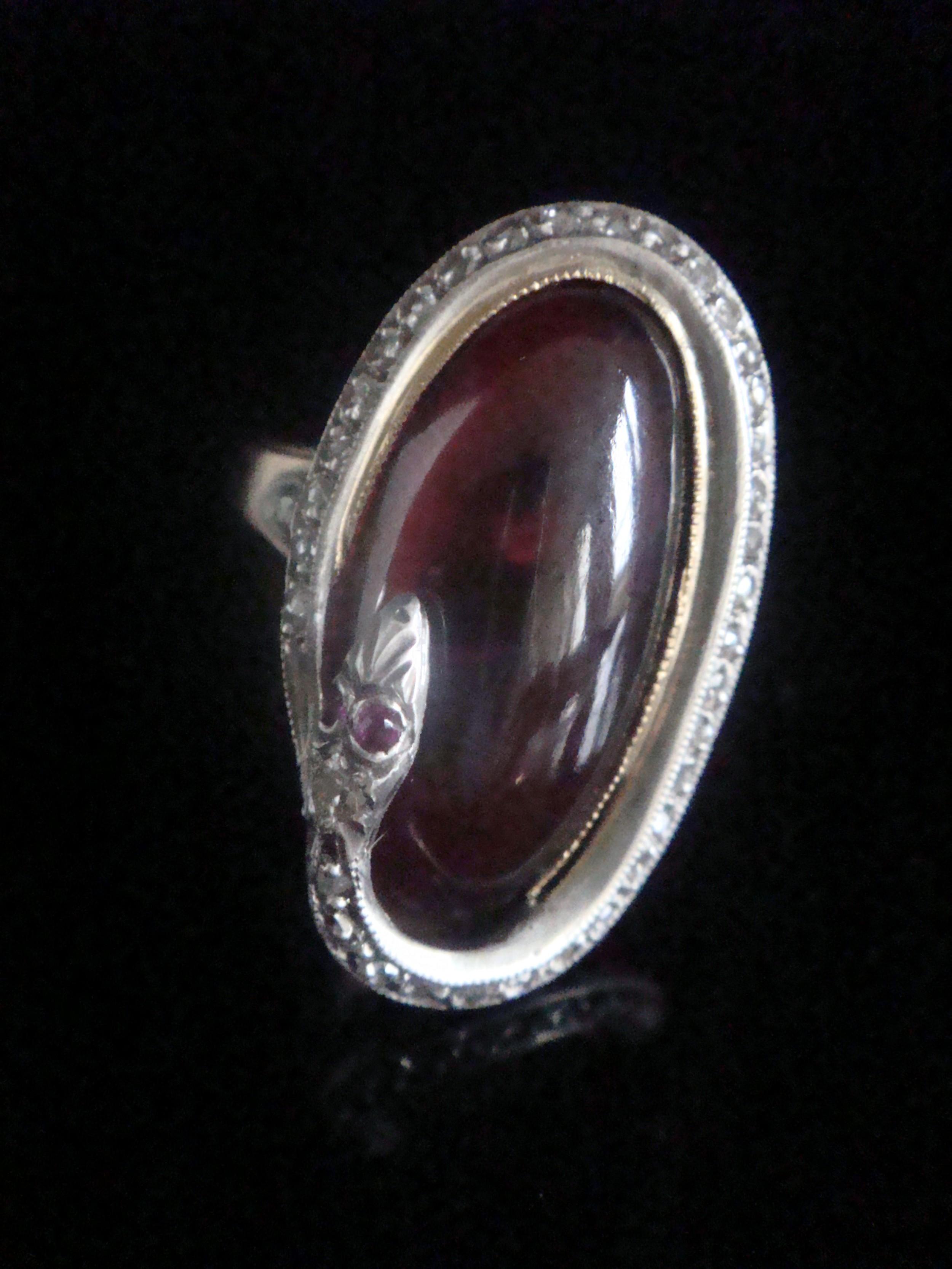 rare edwardian french 18ct rose gold platinum cabochon garnet rose cut diamonds snake ring