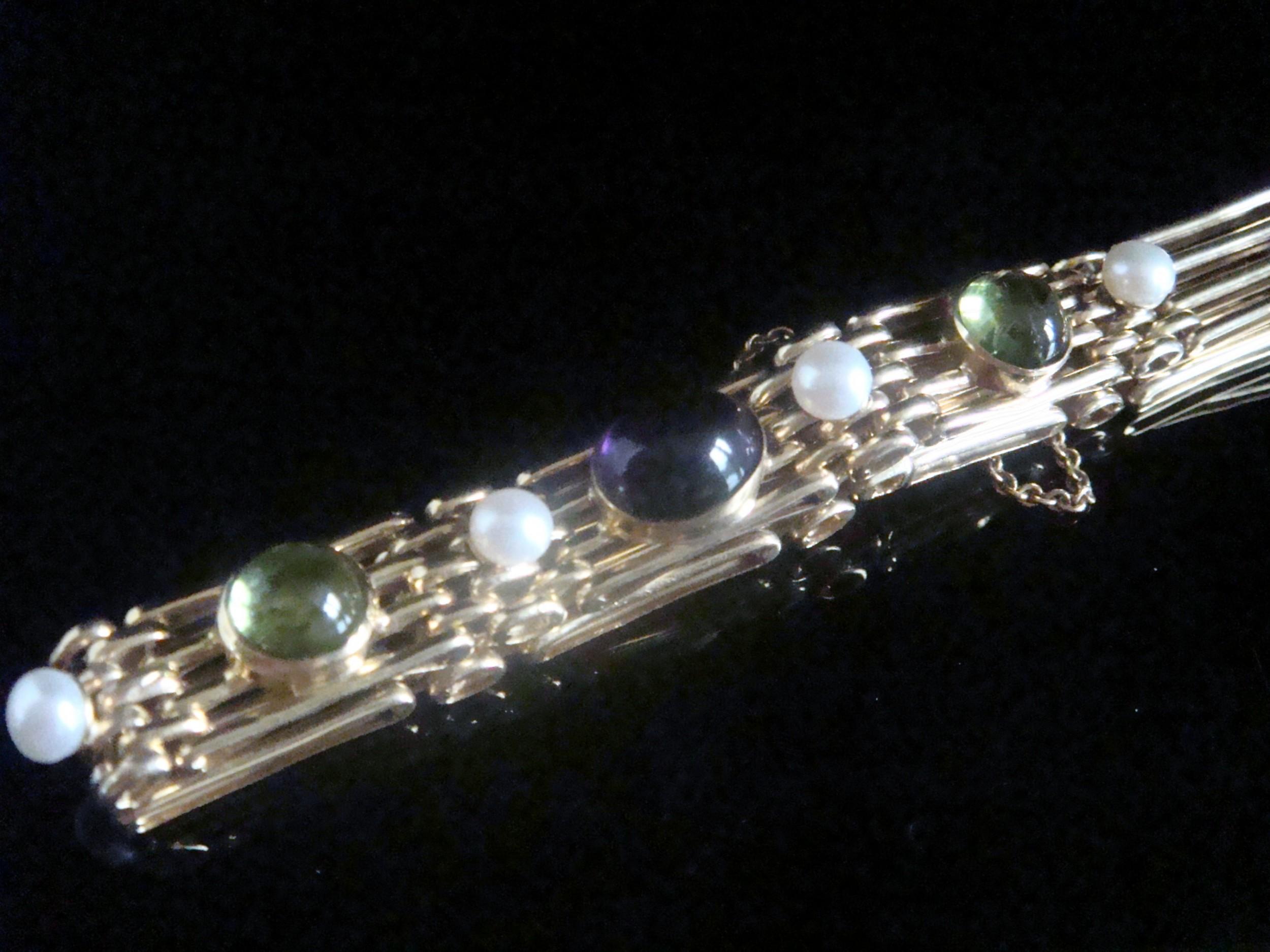 edwardian 9ct suffragette cabochon amethyst peridot pearl gate bracelet 171g