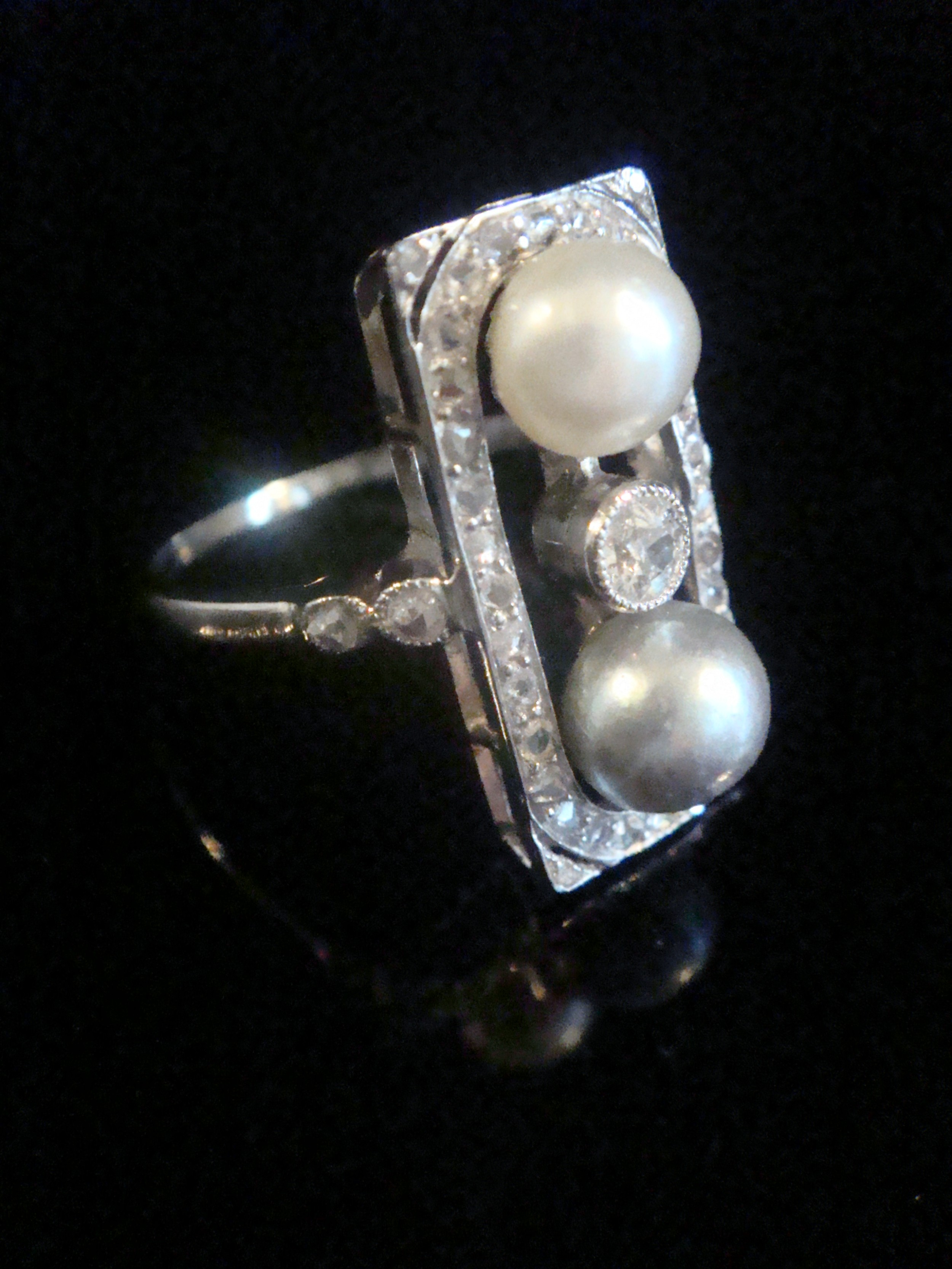 stunning french edwardian art deco 18ct rose cut diamond natural pearl ring