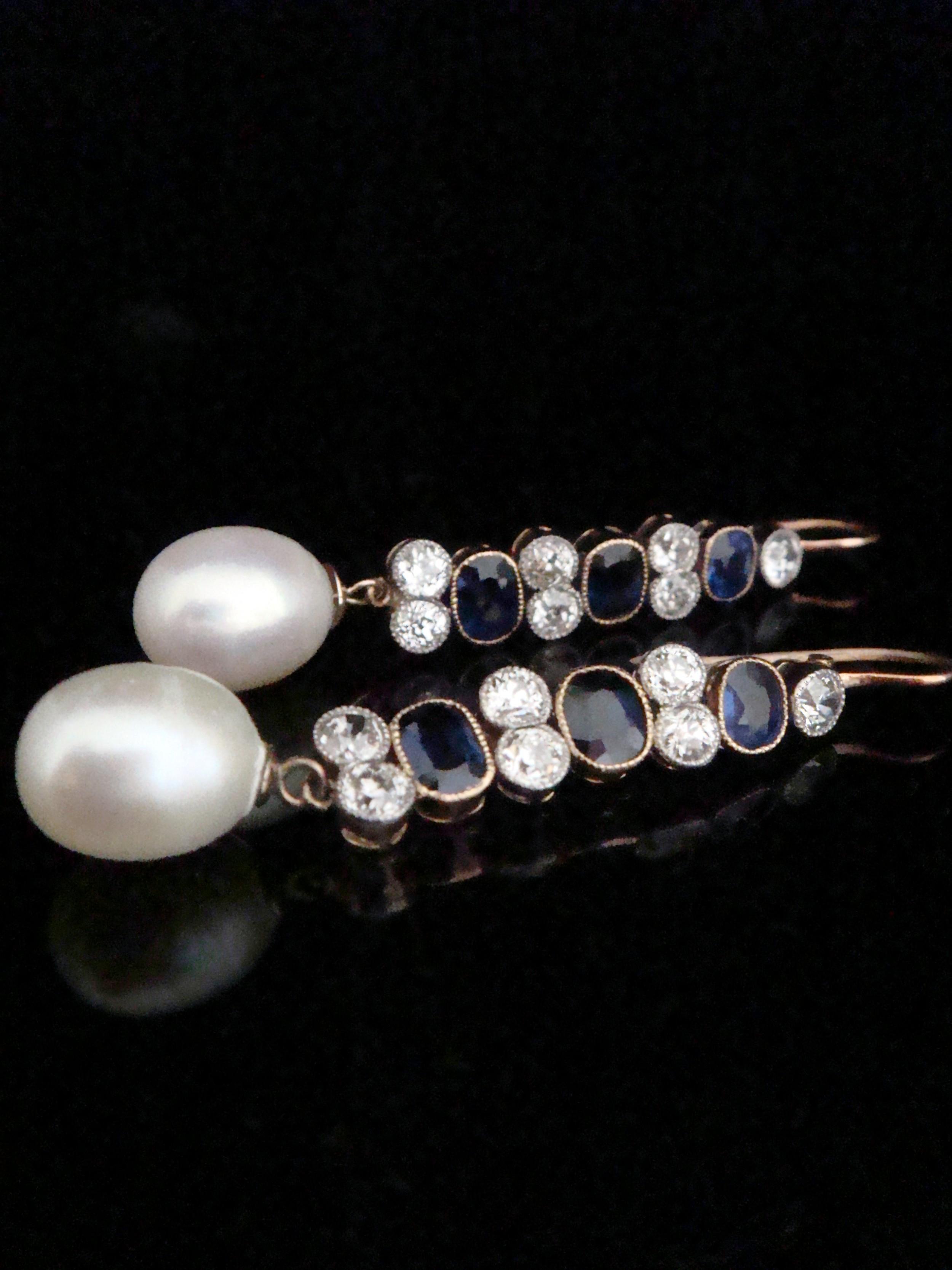 edwardian 18ct yellow gold old cut diamond 220ct sapphire pearl drop earrings