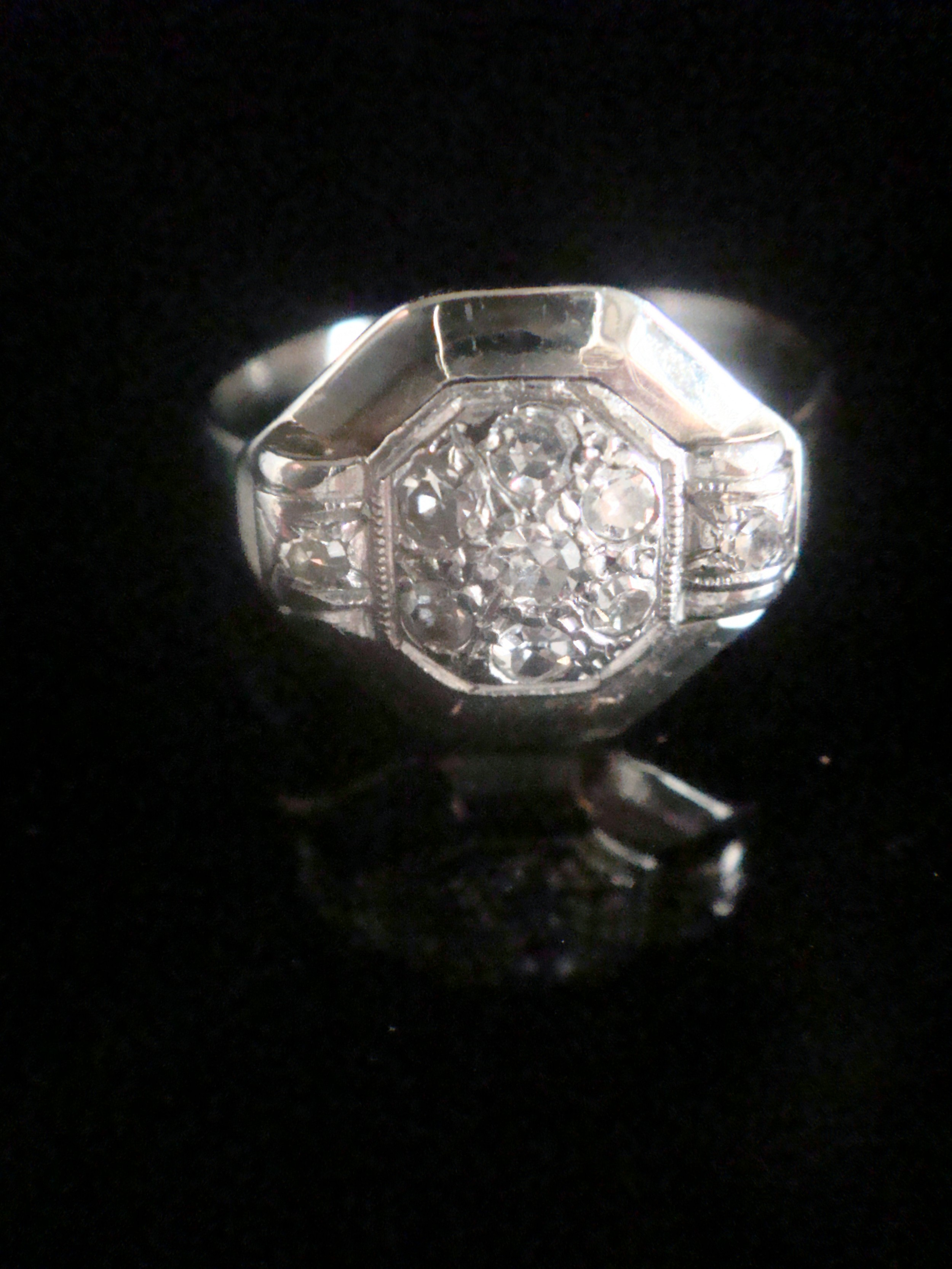 art deco 18ct white gold french old cut natural diamond target cluster