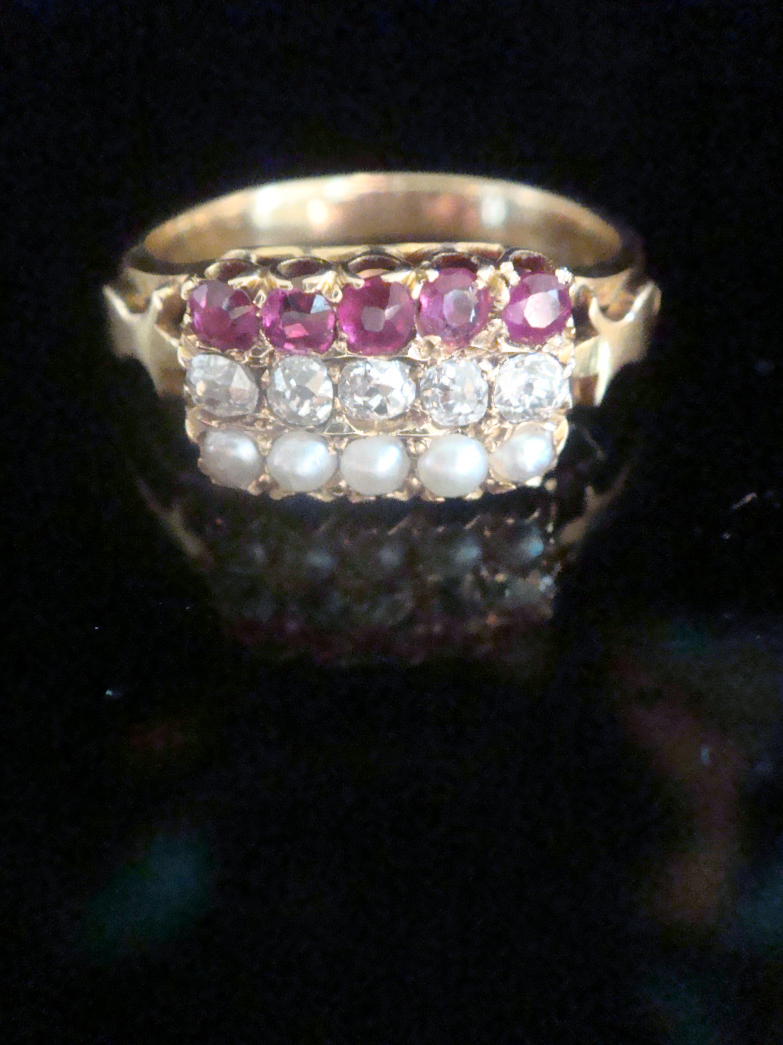 victorian 18ct natural ruby old cut diamond natural seed pearl stacking ring