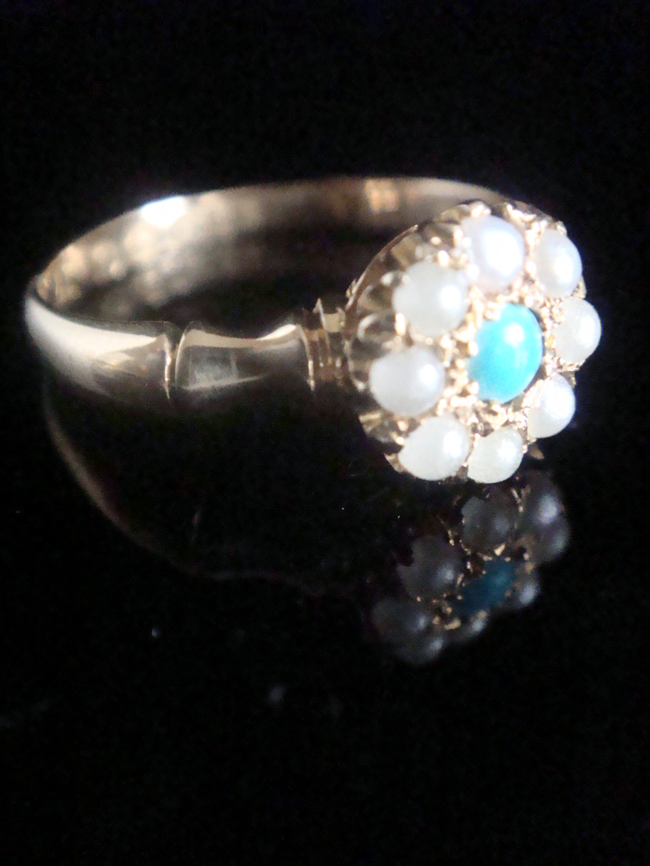 victorian 18ct yellow gold natural turquoise and pearl cluster ring with bamboo shank