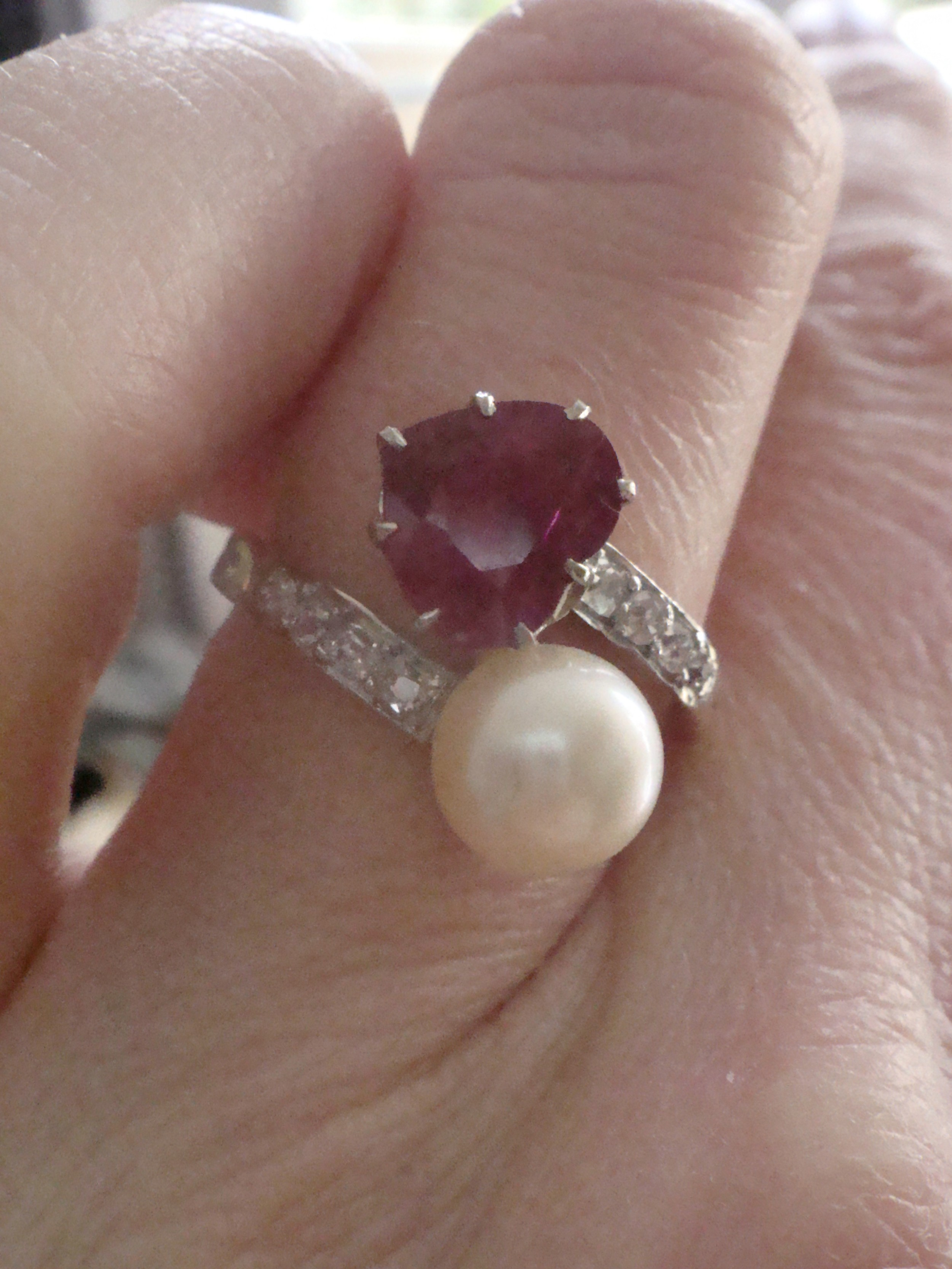 edwardian french 18ct platinum natural heart ruby pearl and diamond toi et moi ring
