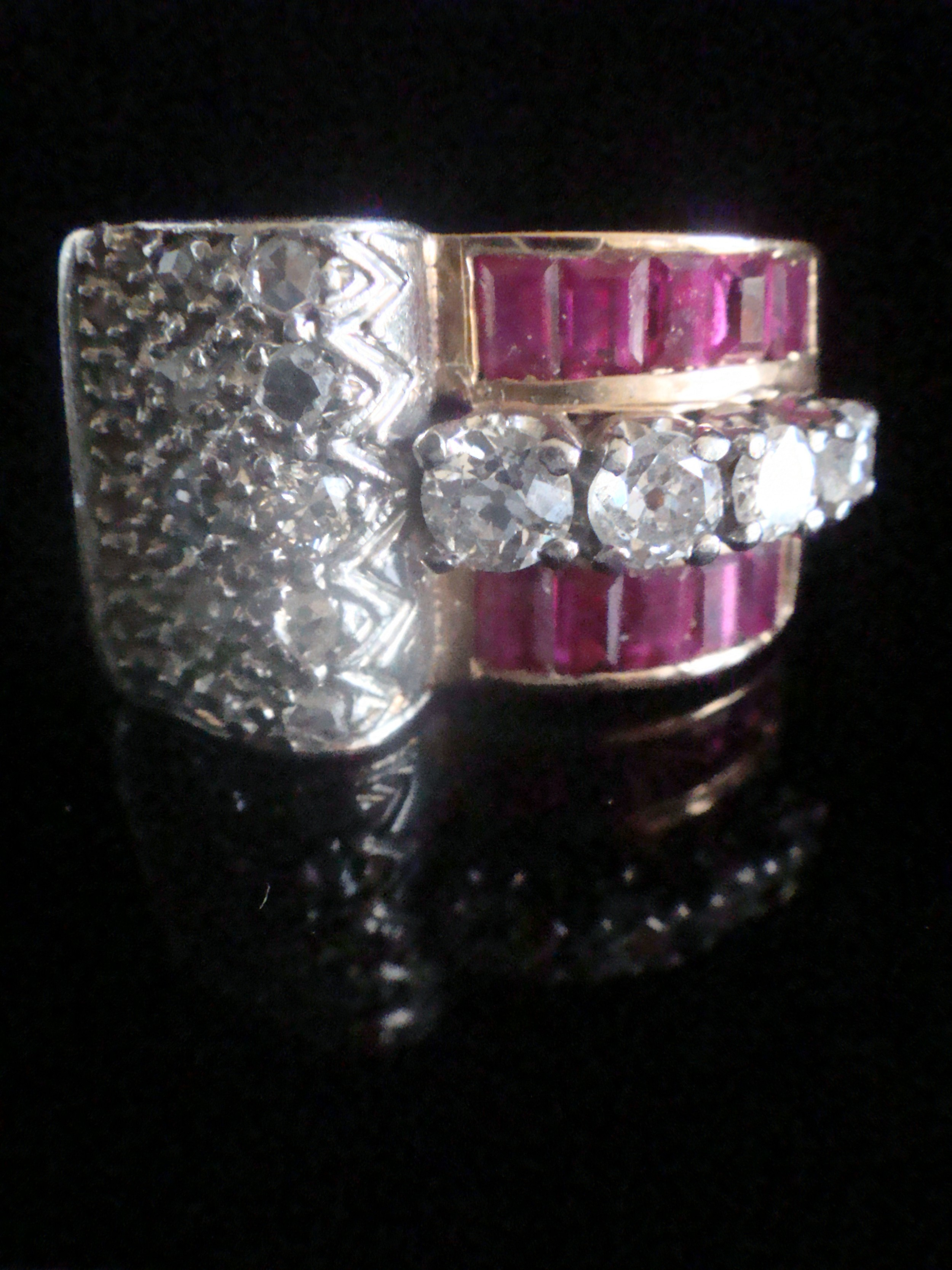 retro 1960s 18ct large diamond 085ct and ruby tank ring
