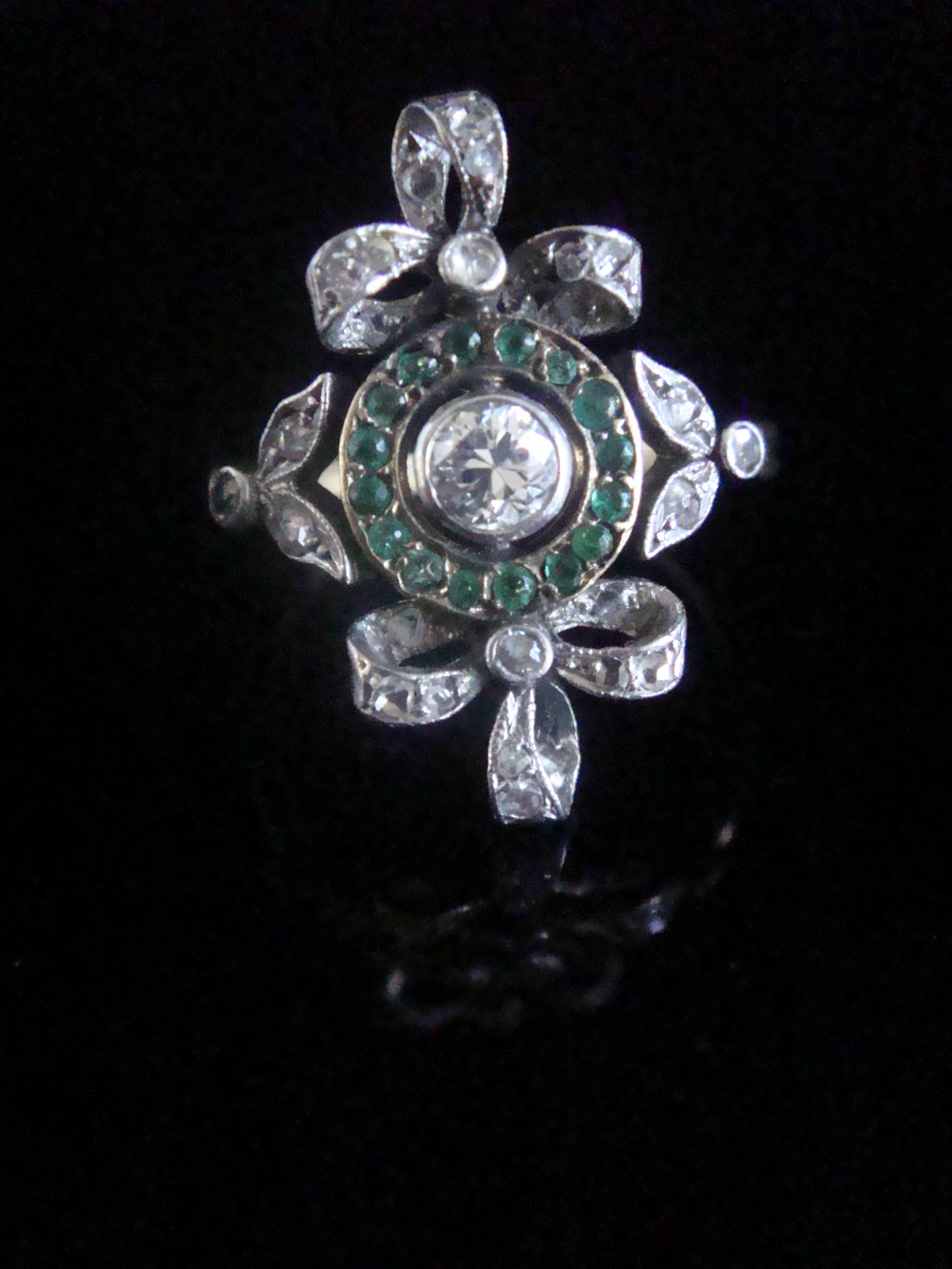 edwardian 18ct platinum emerald and rose cut diamond bow ring