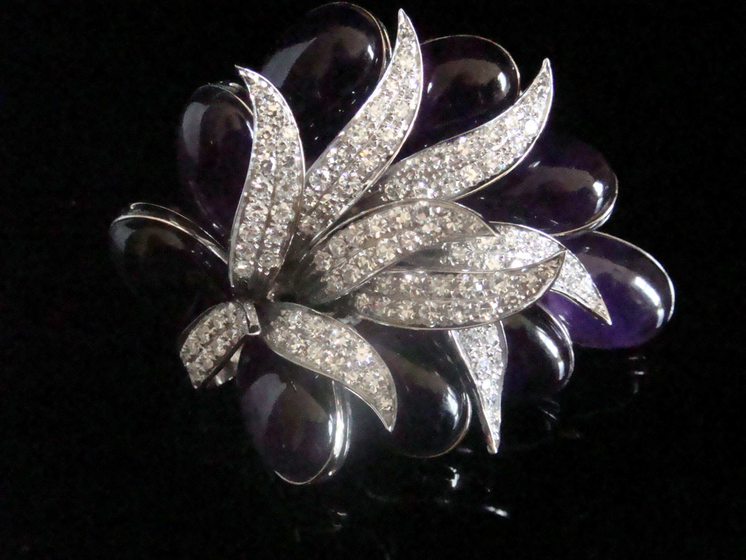 designer 1950s 18ct white gold huge natural cabochon amethyst 45ct and diamond 3ct spray brooch
