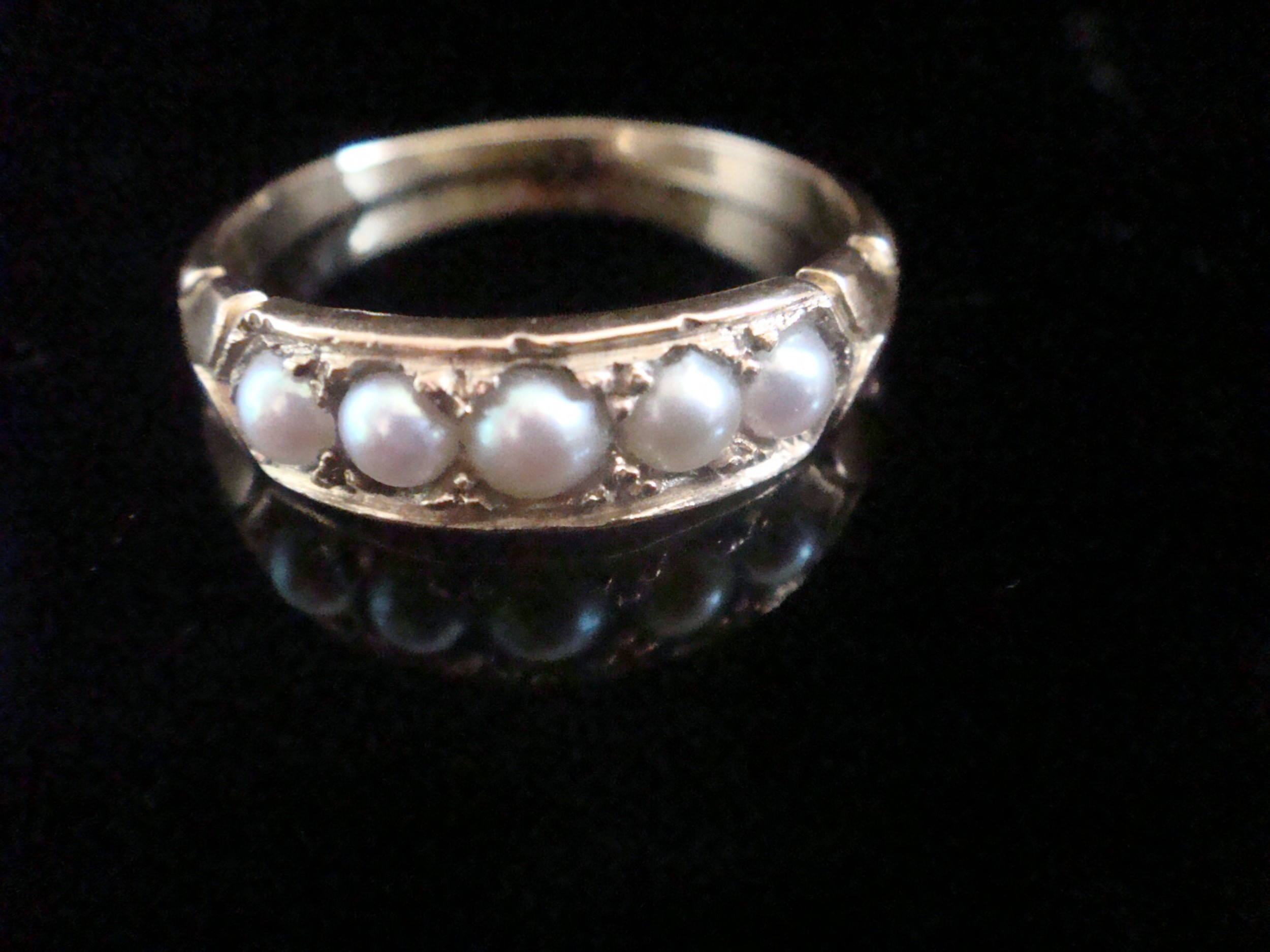 victorian 18ct yellow gold split pearl 5 stone ring
