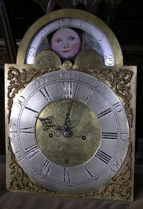 18th cent brass masonic moon dial longcase clock movement