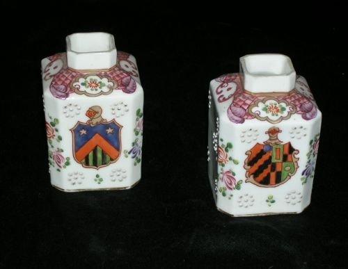 pair chinese style samson porcelain tea caddys