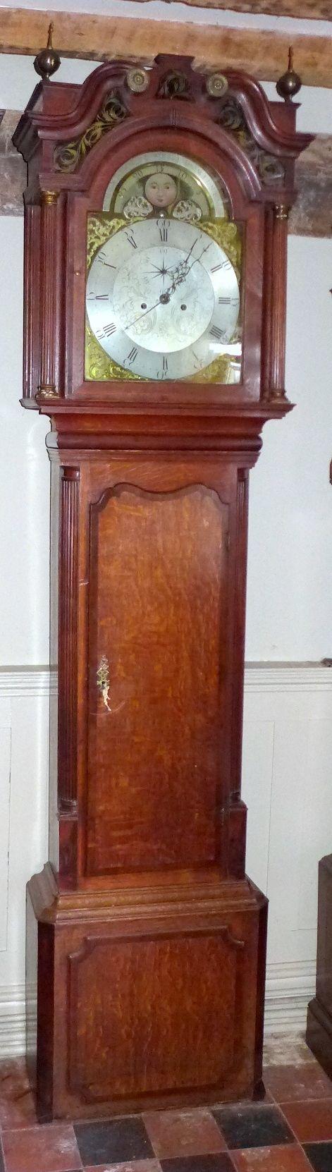 18th cent oak mahogany moon dial long case grandfather clock
