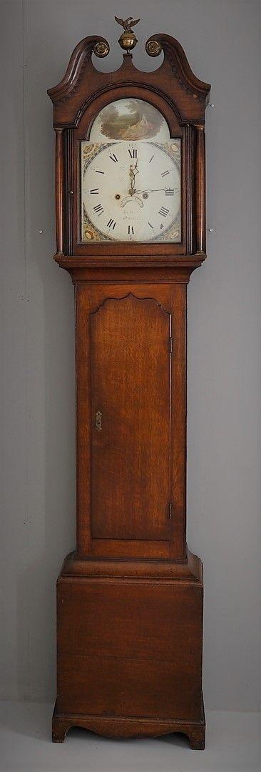 19th cent oak 8 day longcase grandfather clock