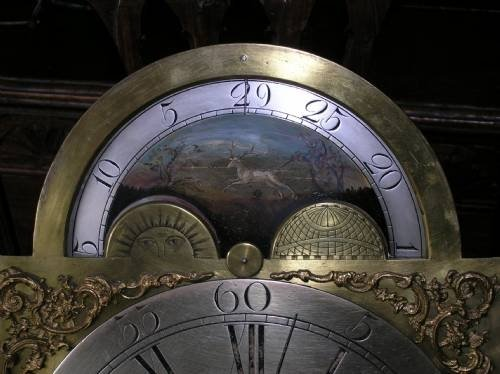 18th cent brass masonic moon dial longcase clock movement - photo angle #2