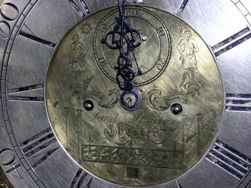18th cent brass masonic moon dial longcase clock movement - photo angle #5