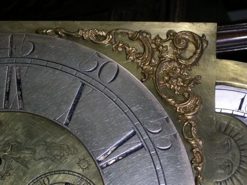 18th cent brass masonic moon dial longcase clock movement - photo angle #4