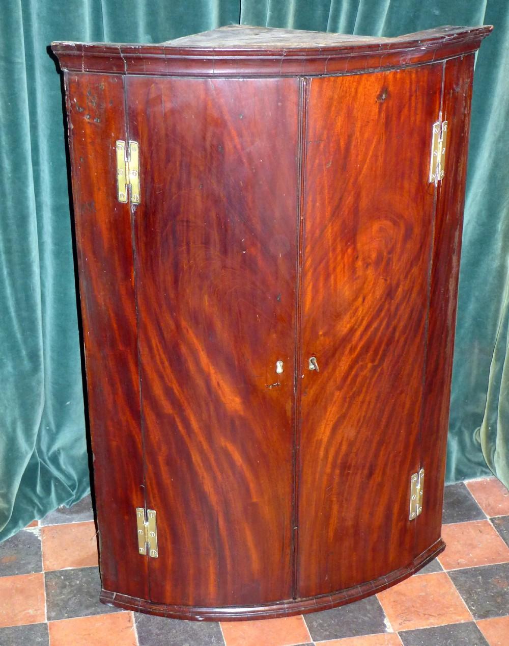 george iii mahogany bow front corner cupboard