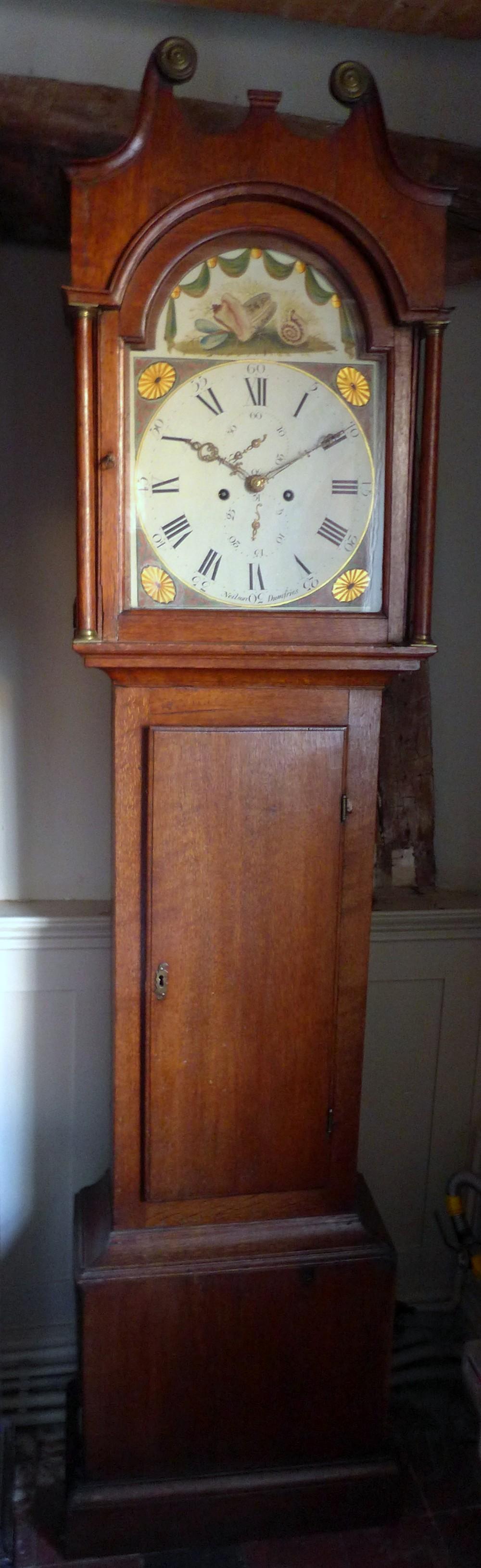 early 19th cent oak 8 day scottish long case grandfather clock