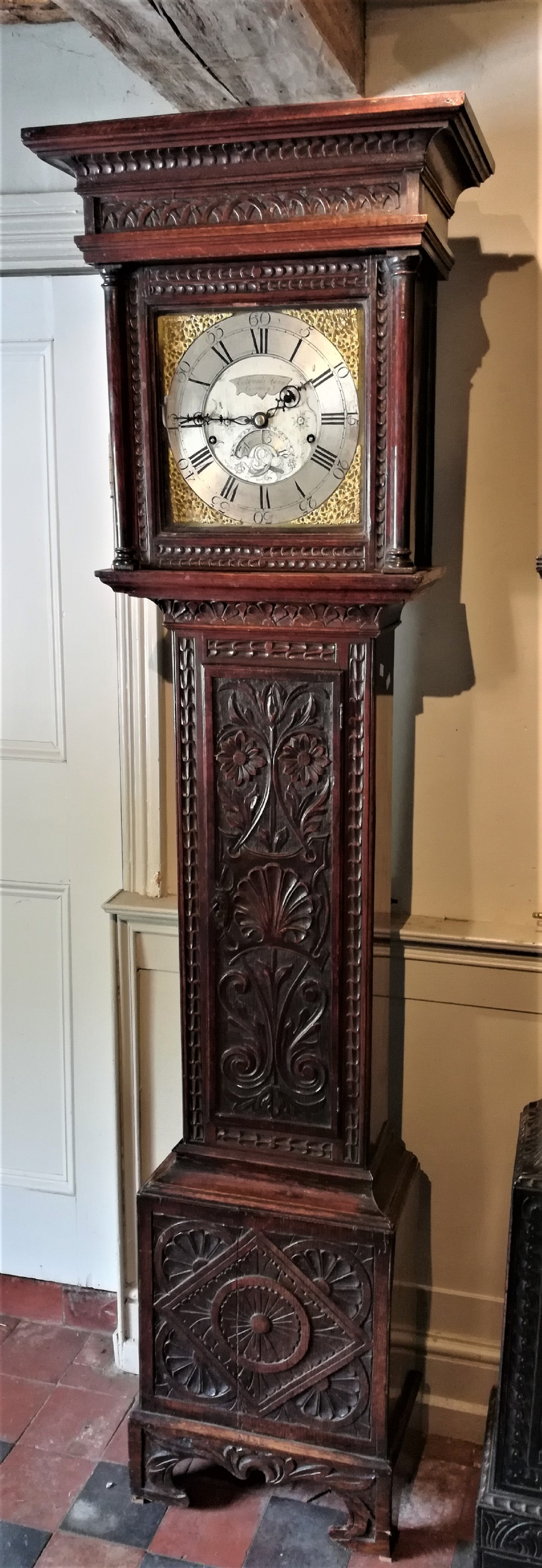 18th cent carved oak 8 day long case grandfather clock