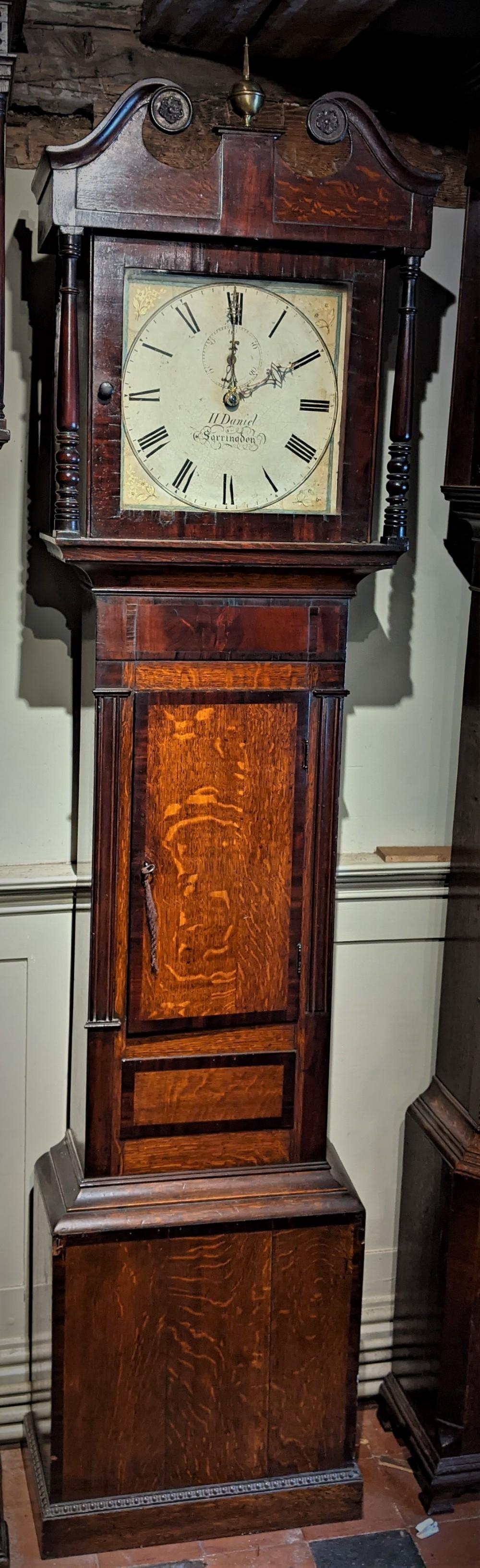 19th cent oak and mahogany cottage longcase clock