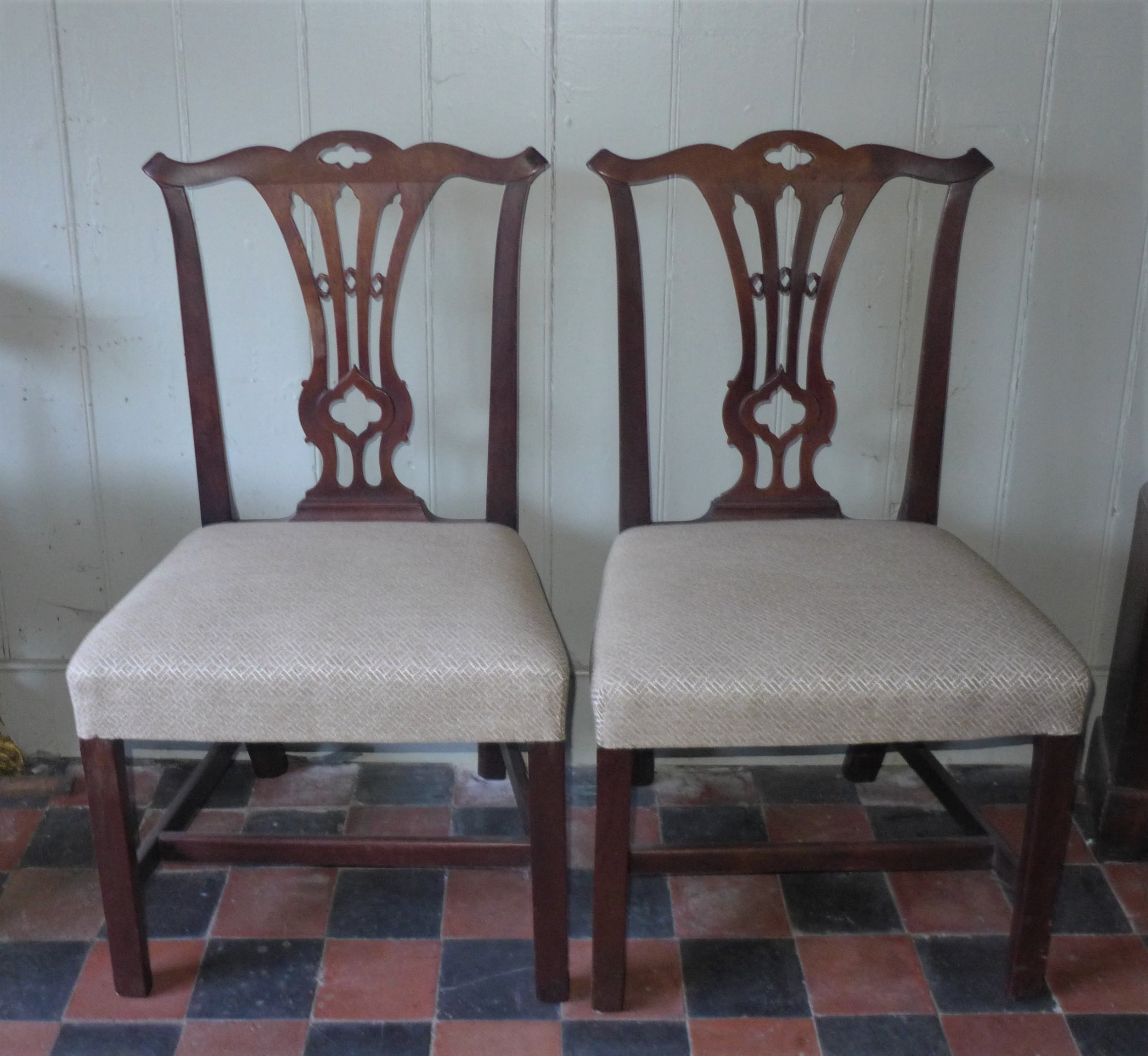 pair geo iii chippendale style side chairs