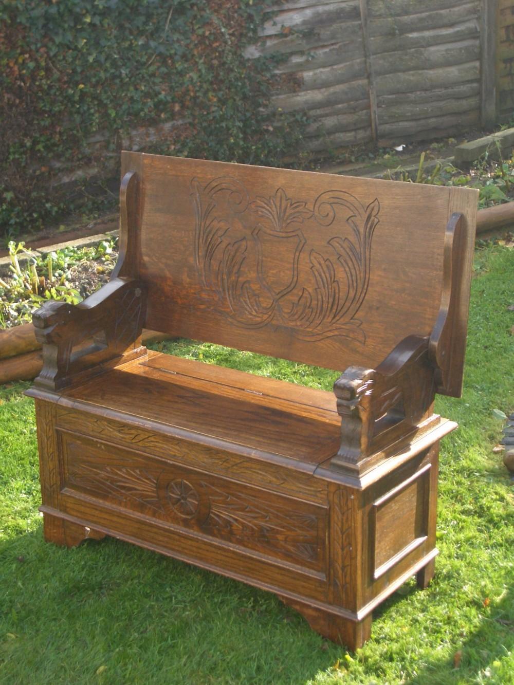 Antique carved oak monks bench table