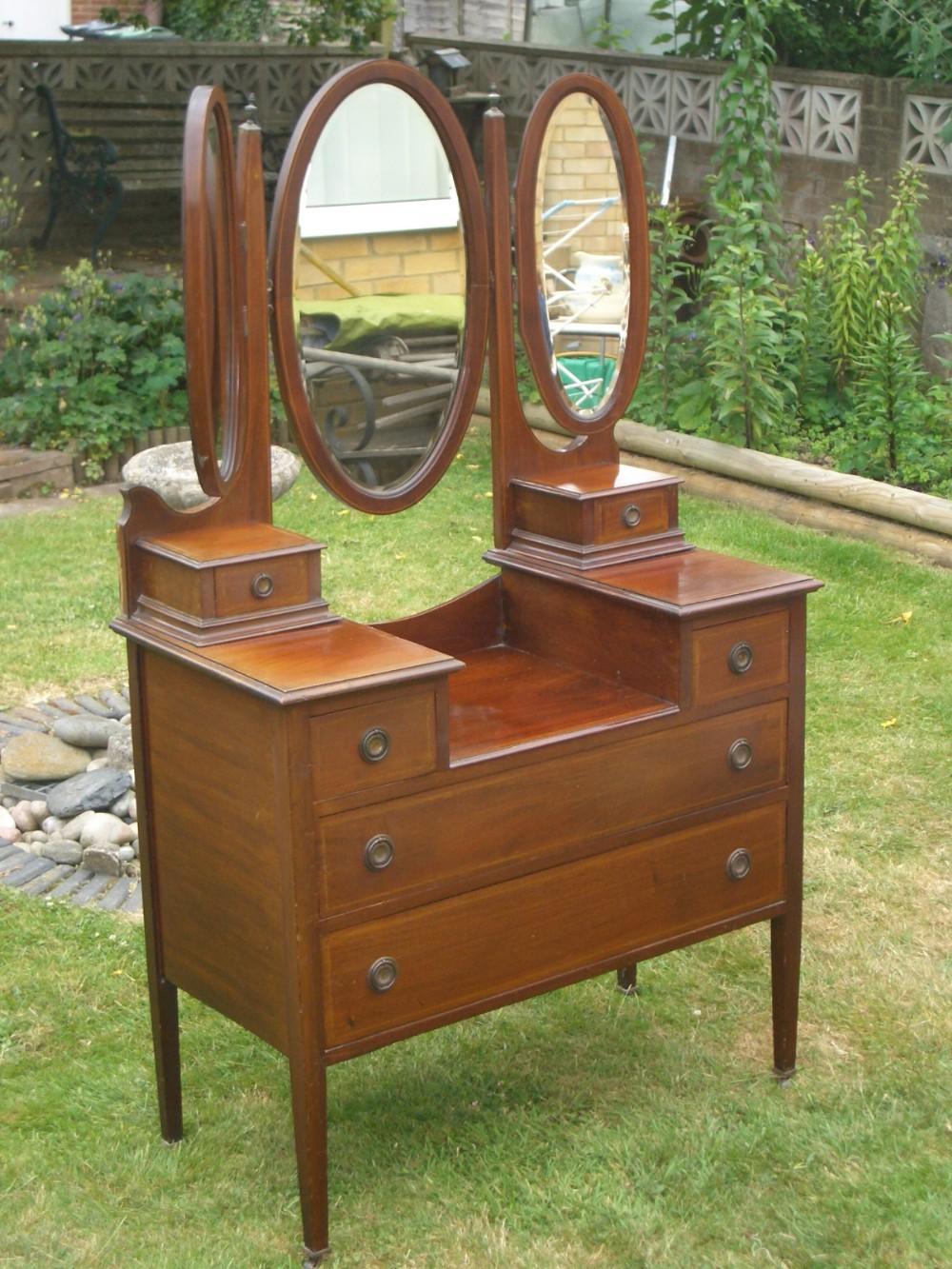 Antique edwardian inlaid mahogany triple mirror dressing