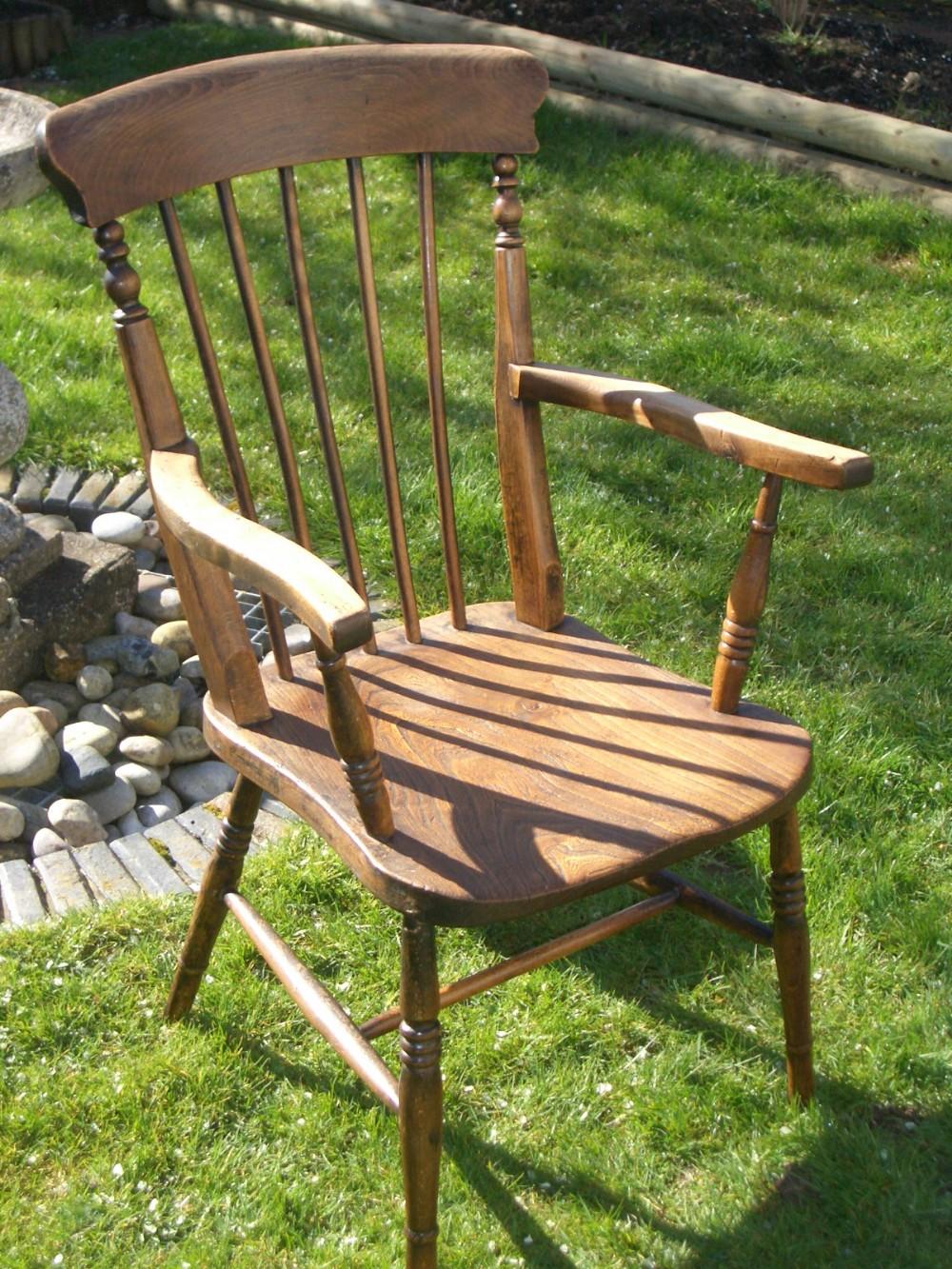 Antique farmhouse pine stick back carver chair 270812 for Farmhouse chair plans