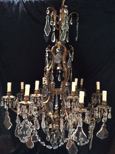 large french brass antique chandelier