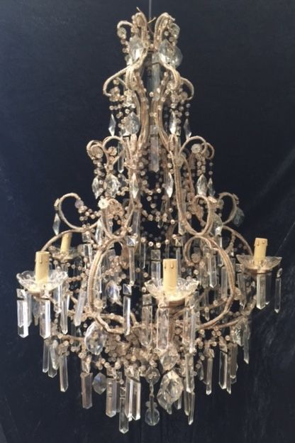 antique florentine gilt beaded chandelier