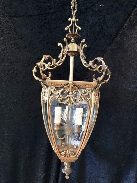 french ornate brass hall lantern