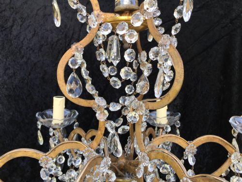 Italian 6 Light Gilt Antique Chandelier 492534