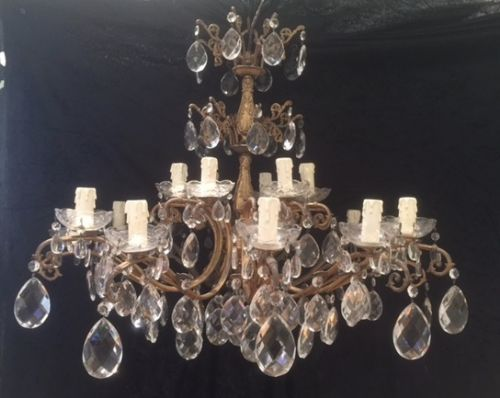 italian two tier 18 light antique chandelier