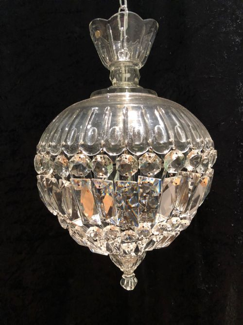 A Pair Of English Cut Glass Antique Basket Chandeliers